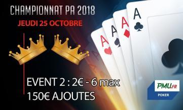 Championnat PA 2018 : Event 2 - 6 max (2€)