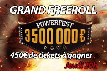 Grand freeroll PA spécial Powerfest : 450€ de tickets offerts sur Party Poker