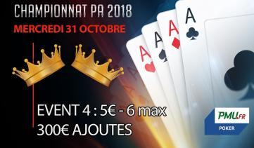 Championnat PA 2018 : Event 4 - 6 max (5€)