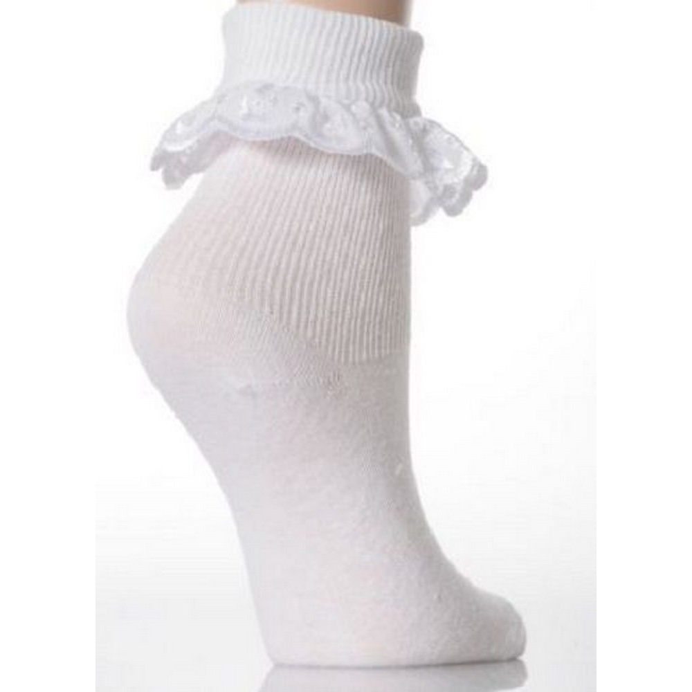 Baby Girls Cotton Rich Ankle Socks With Frill Trim Pack Of 3 BABY1158