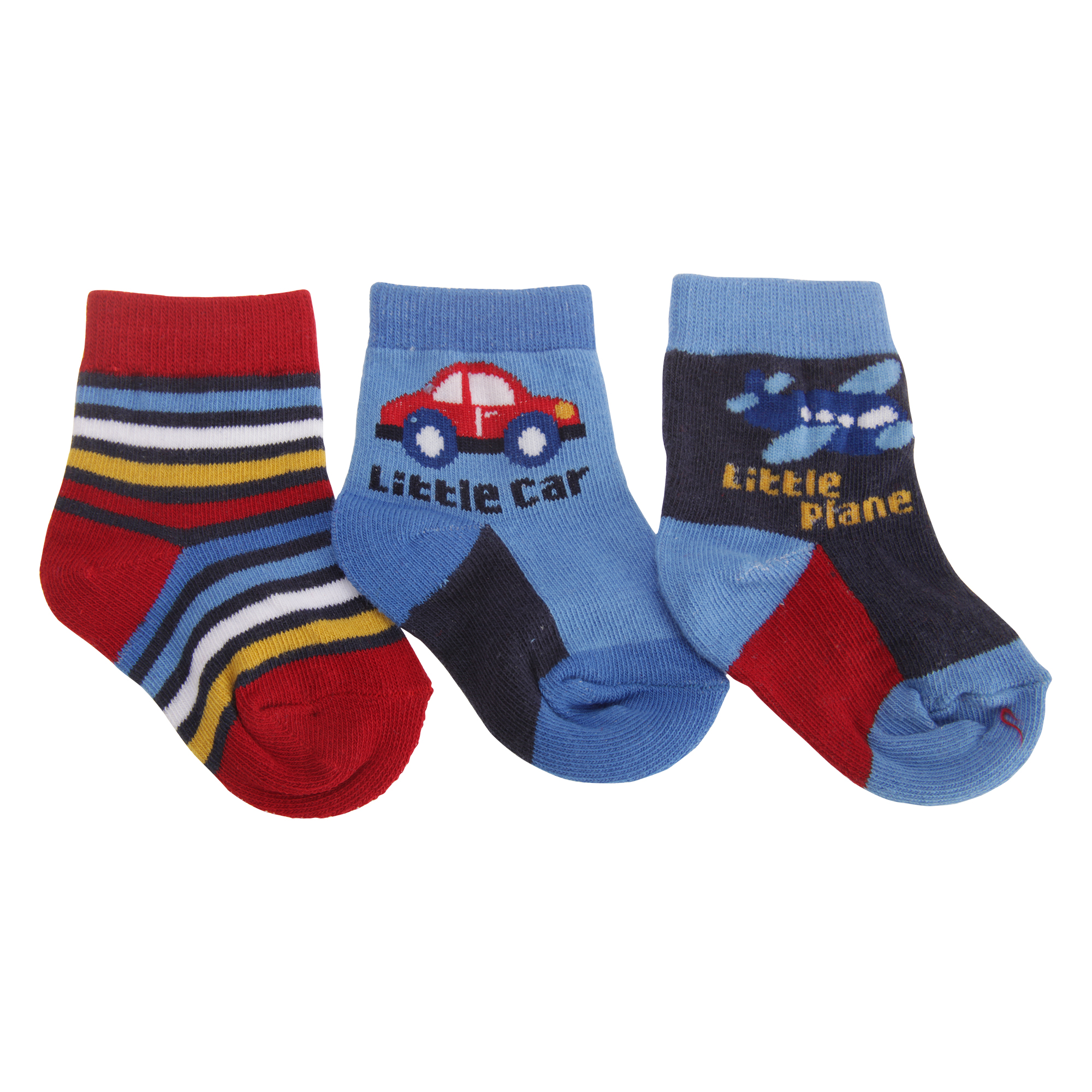 BABY1366 Baby Boys Vehicle Patterned Socks Pack Of 3