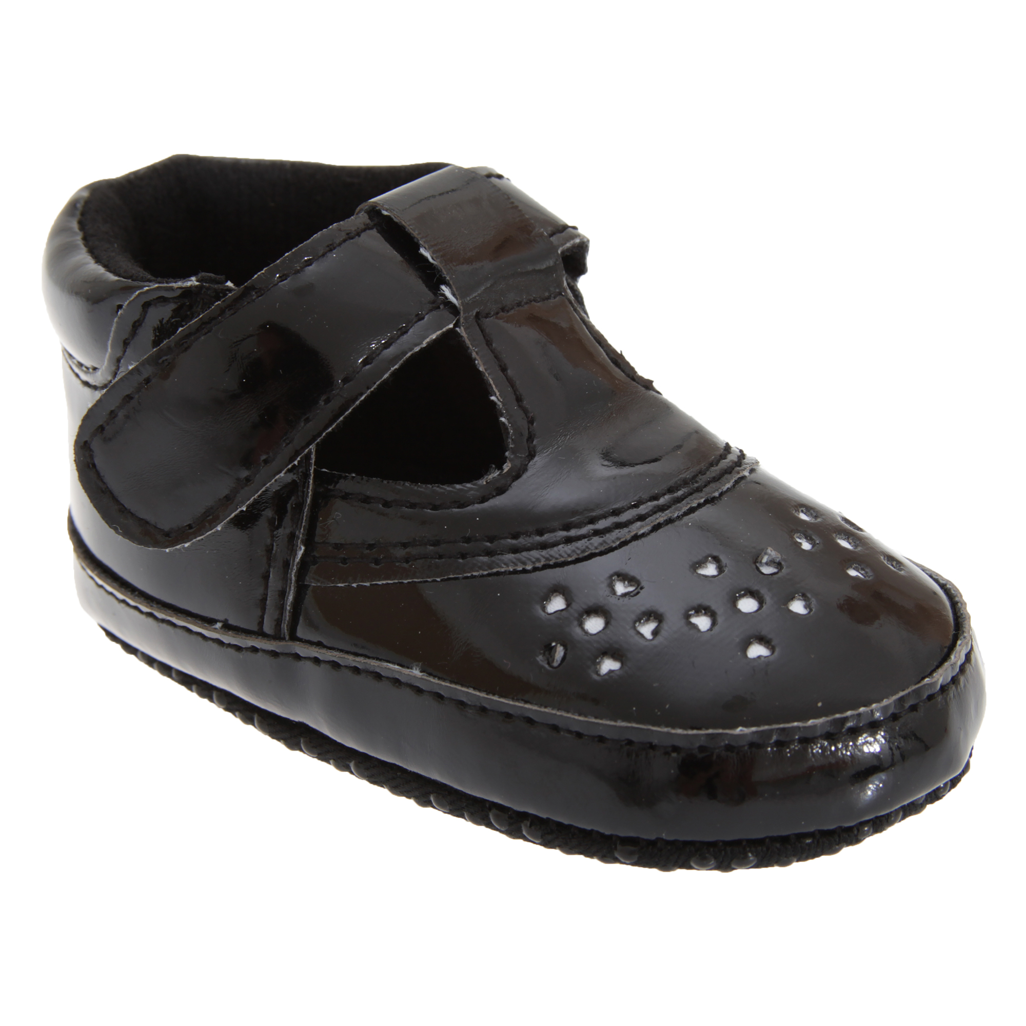 Baby Girl Shoes In Black With Strap (Size 1: 0-6 months) (As Shown)
