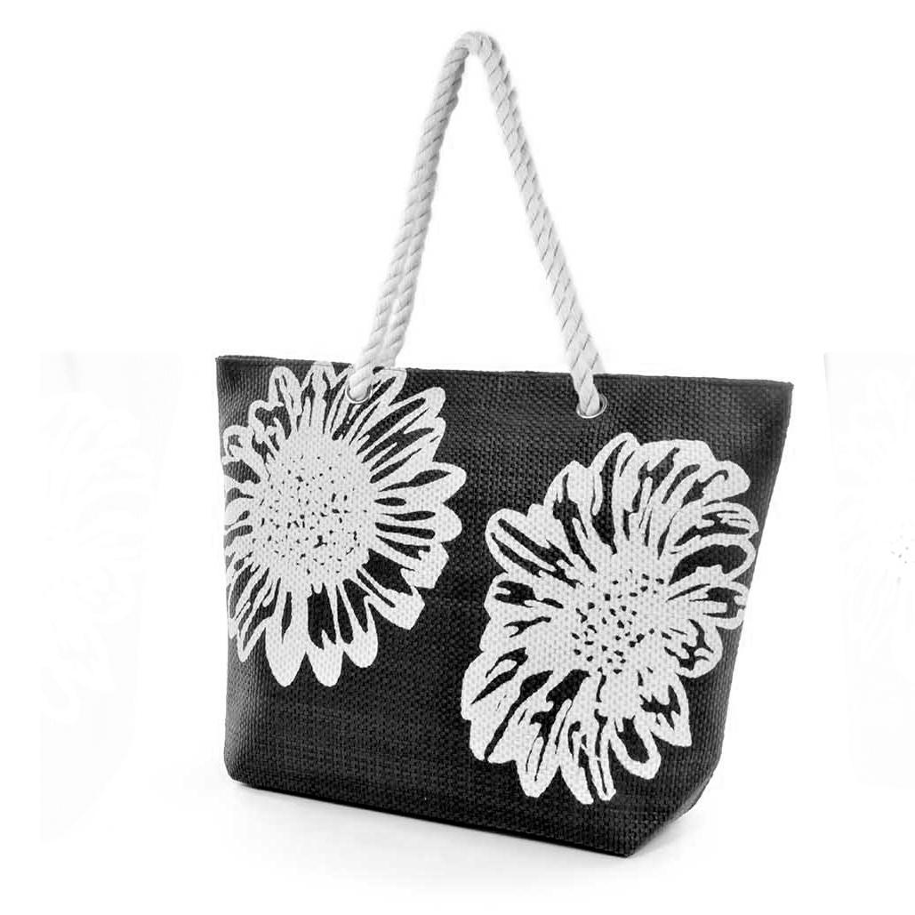 Womens/Ladies Floral Print Woven Summer Handbag (One Size) (Black)