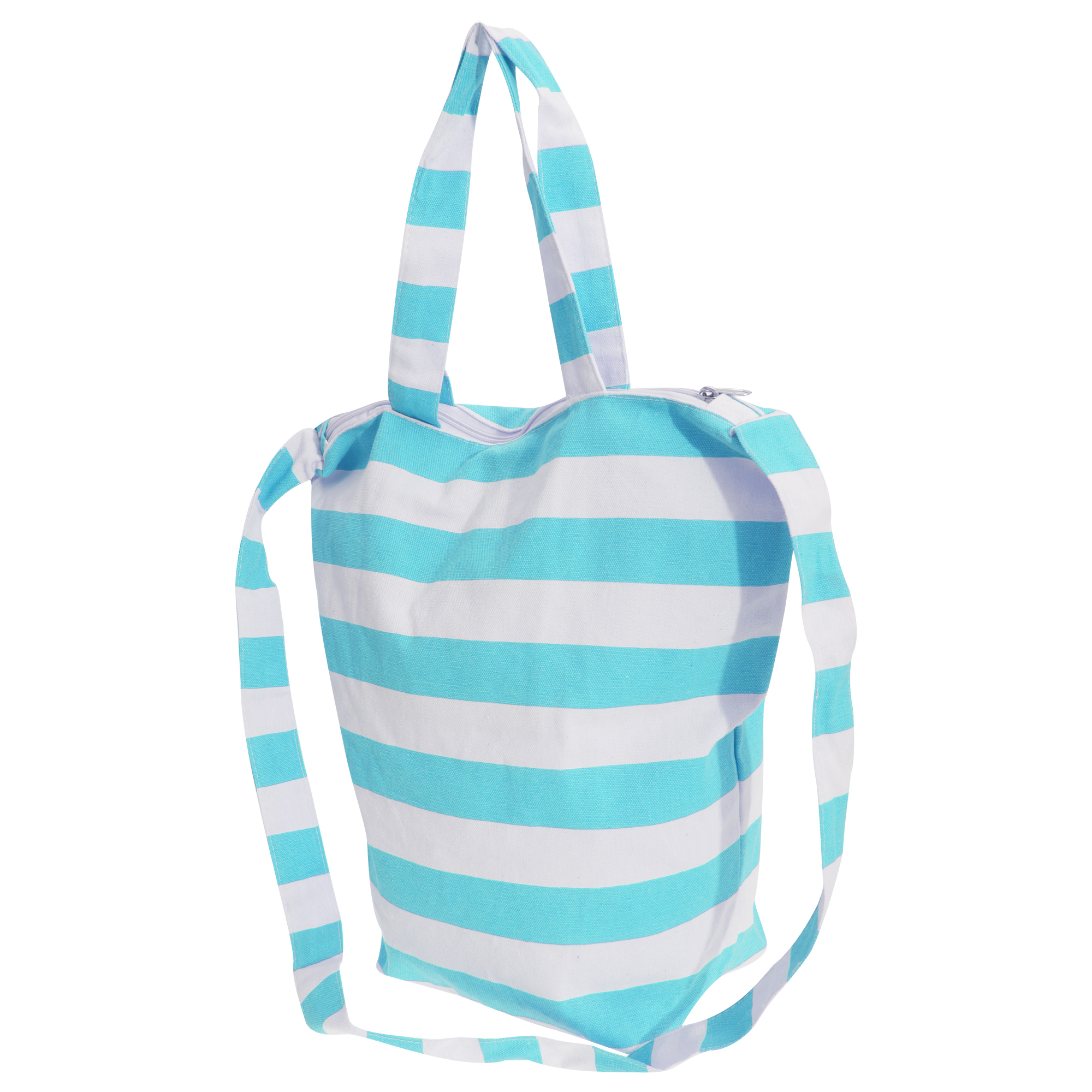 FLOSO Womens/Ladies Striped Summer Handbag With Shoulder Strap (One Size) (White/Mint)
