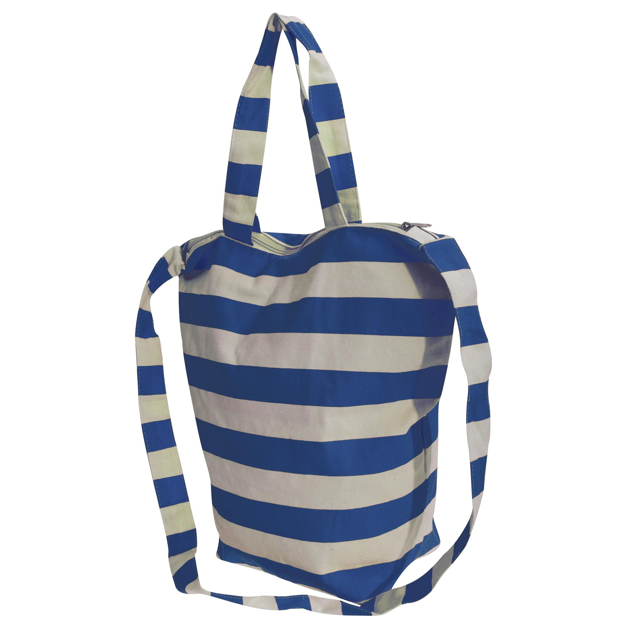 FLOSO Womens/Ladies Striped Summer Handbag With Shoulder Strap (One Size) (White/Navy)