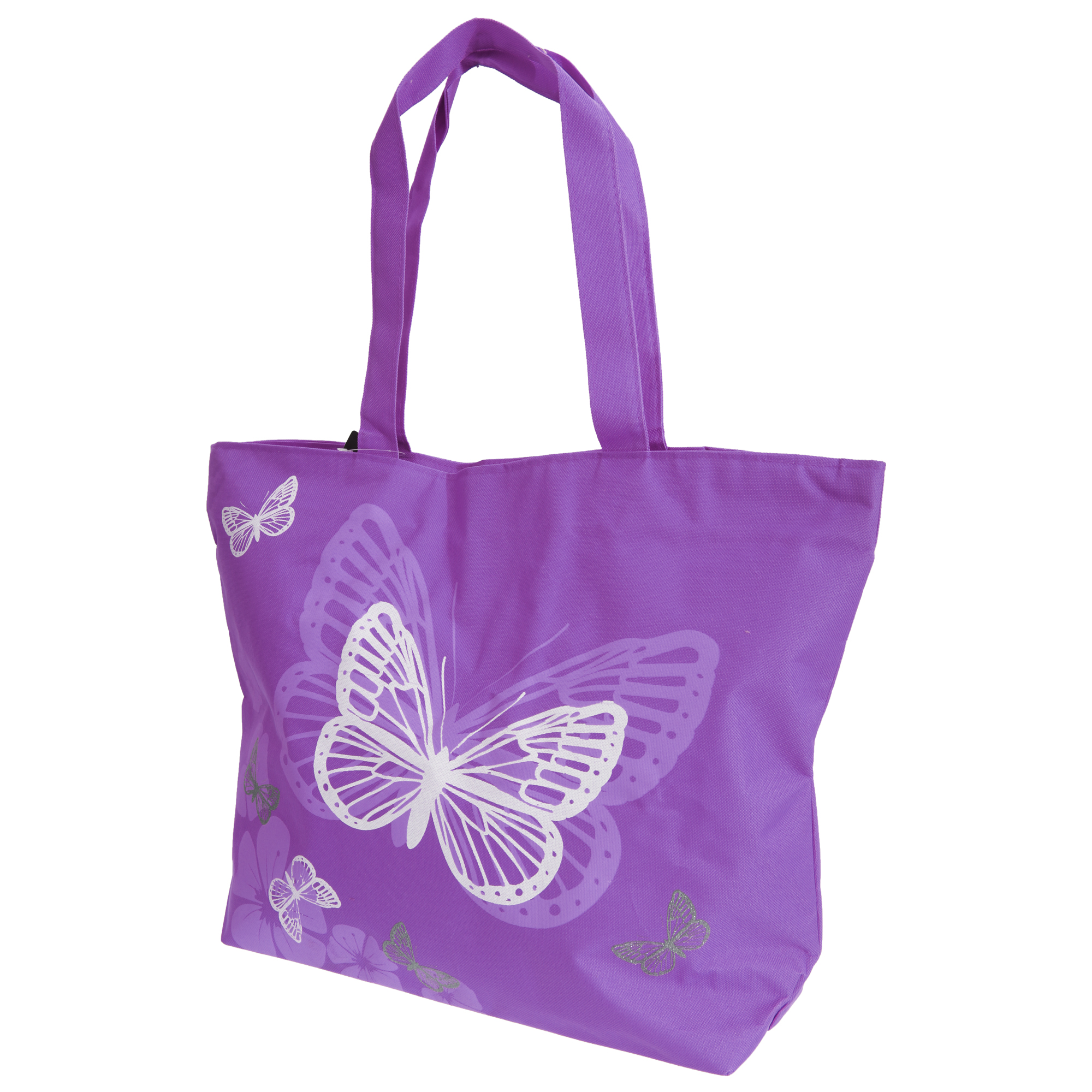 FLOSO Womens/Ladies Floral Butterfly Design Handbag (One Size) (Purple)