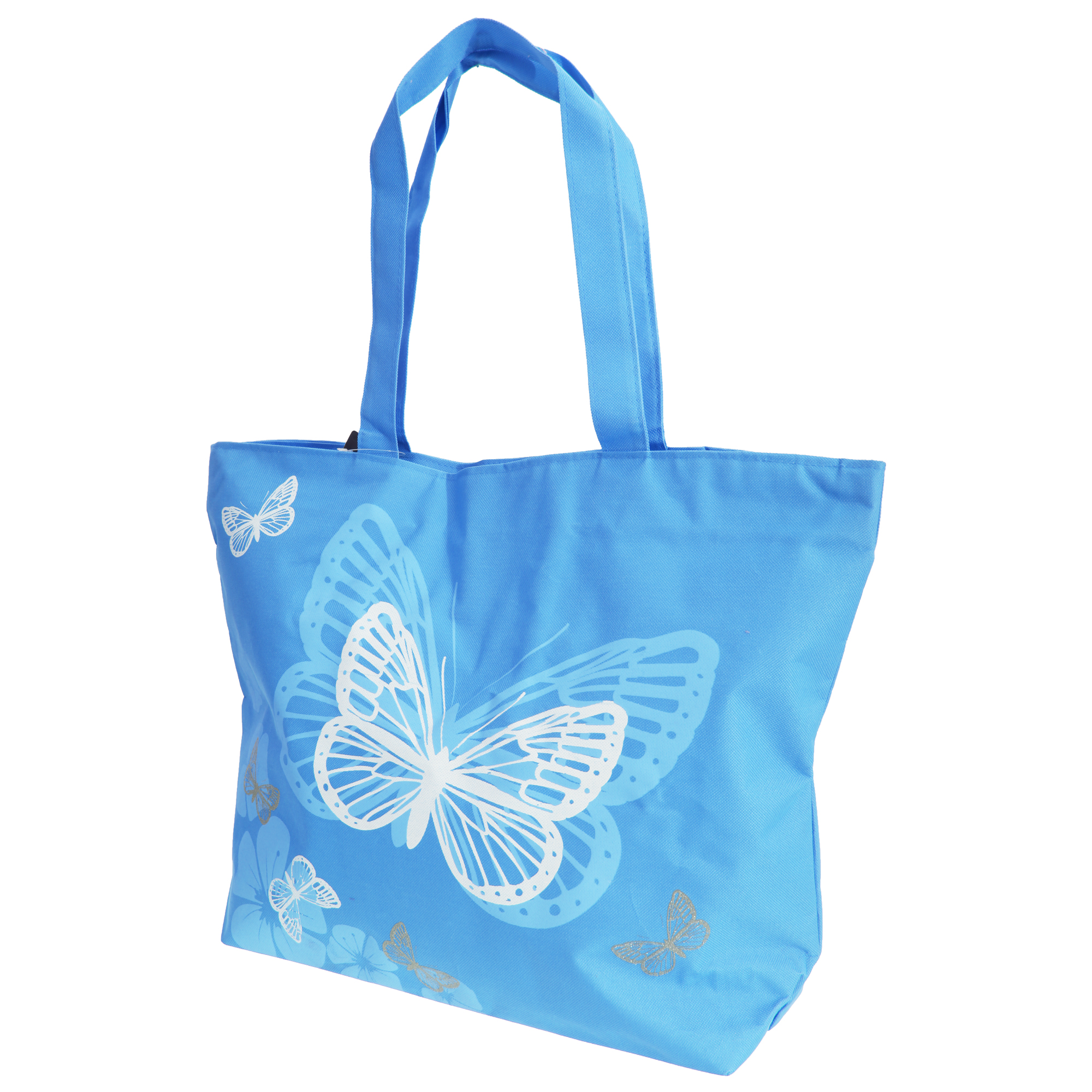 FLOSO Womens/Ladies Floral Butterfly Design Handbag (One Size) (Blue)