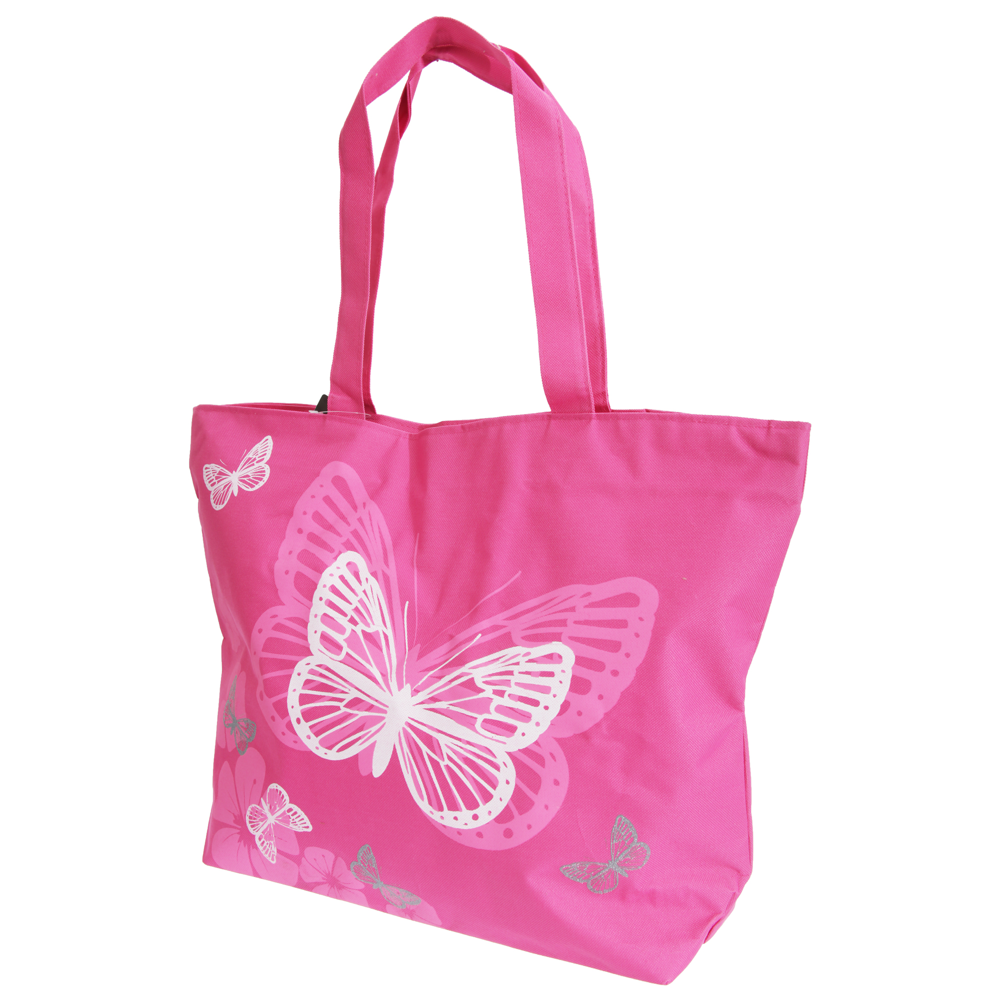 FLOSO Womens/Ladies Floral Butterfly Design Handbag (One Size) (Fuchsia)