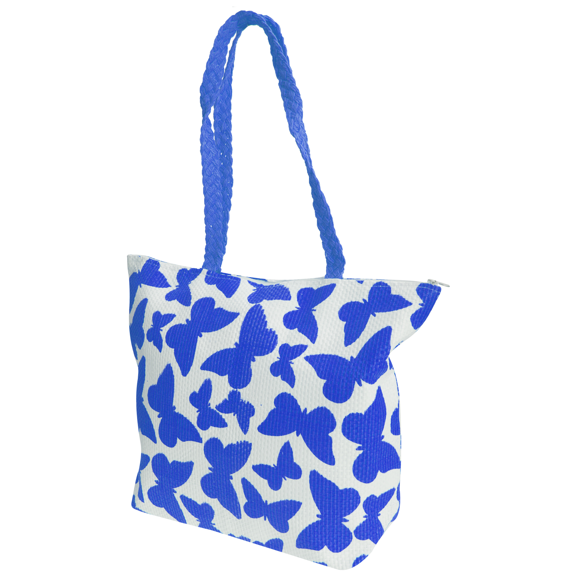 FLOSO Womens/Ladies Straw Woven Butterfly Print Top Handle Handbag (One Size) (White/Blue)