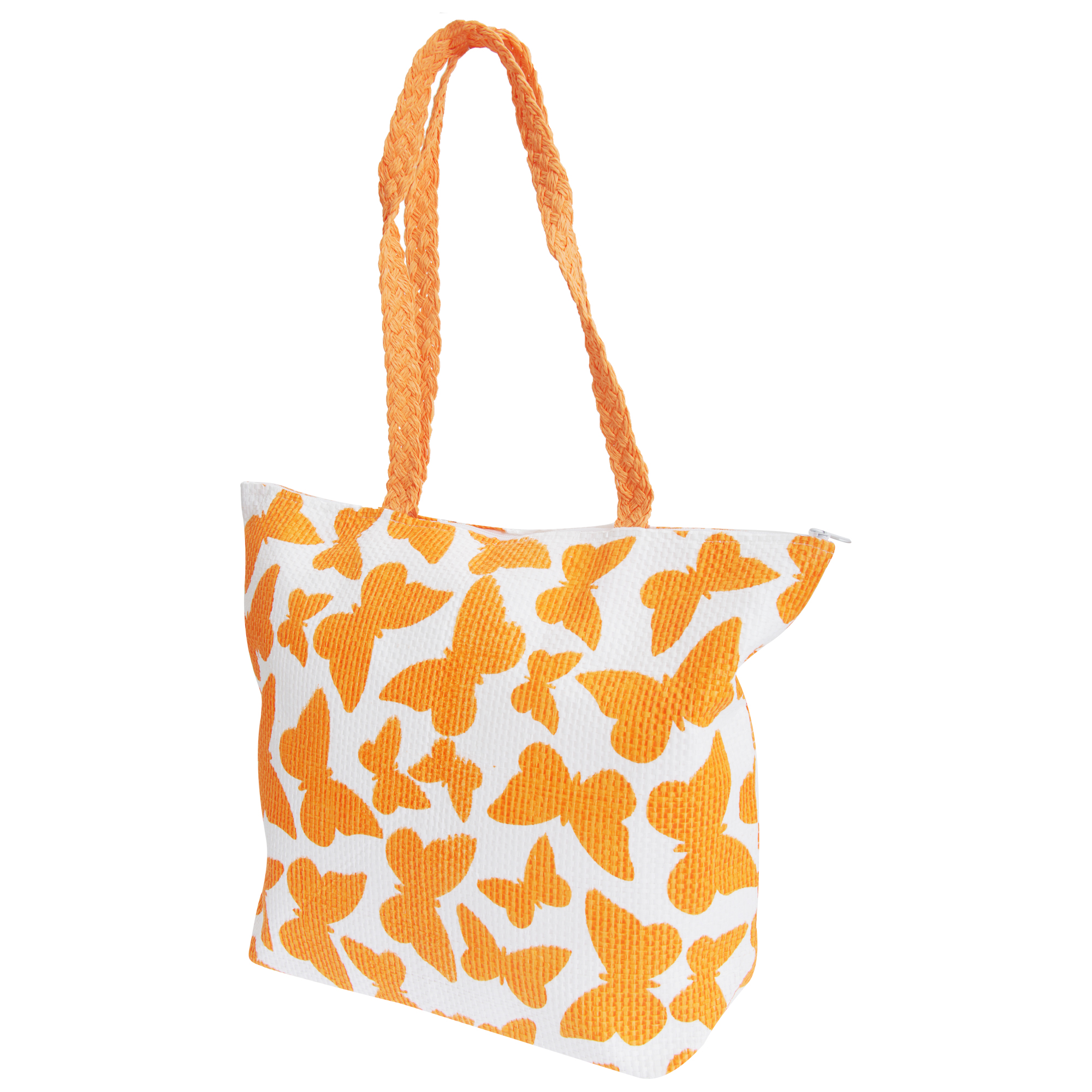 FLOSO Womens/Ladies Straw Woven Butterfly Print Top Handle Handbag (One Size) (White/Orange)