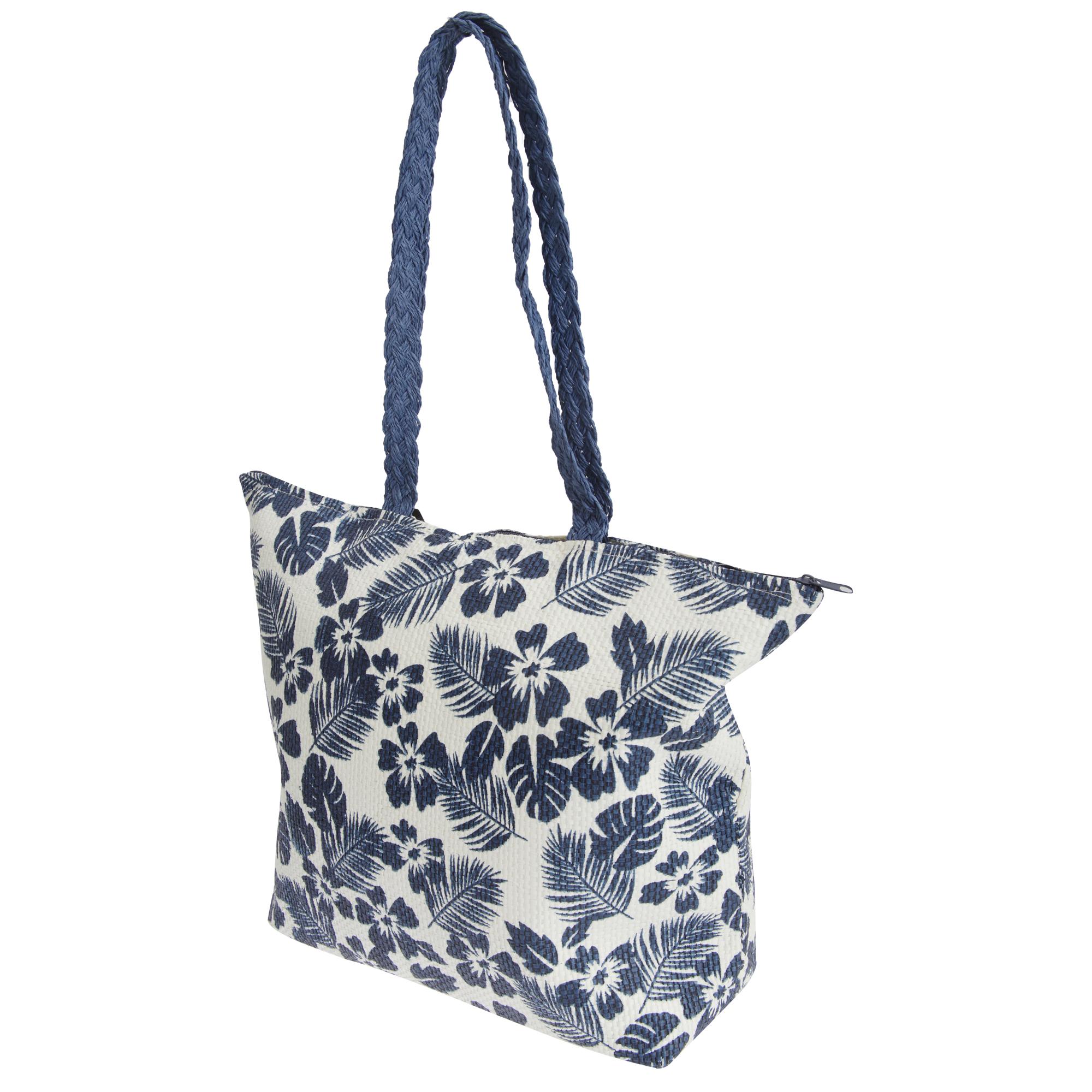 FLOSO Womens/Ladies Floral Leaf Pattern Straw Woven Summer Handbag (One Size) (White/Navy)