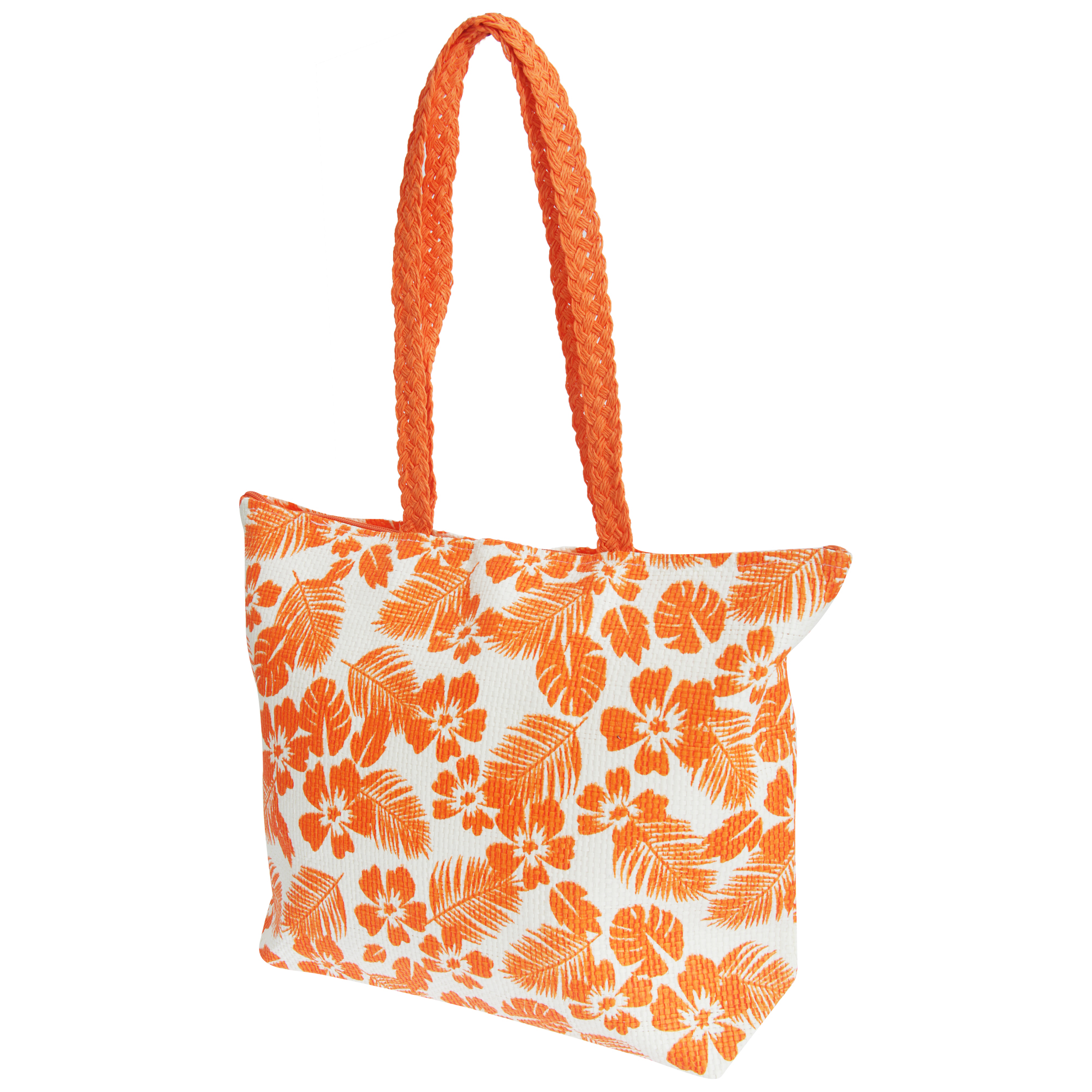FLOSO Womens/Ladies Floral Leaf Pattern Straw Woven Summer Handbag (One Size) (White/Coral)