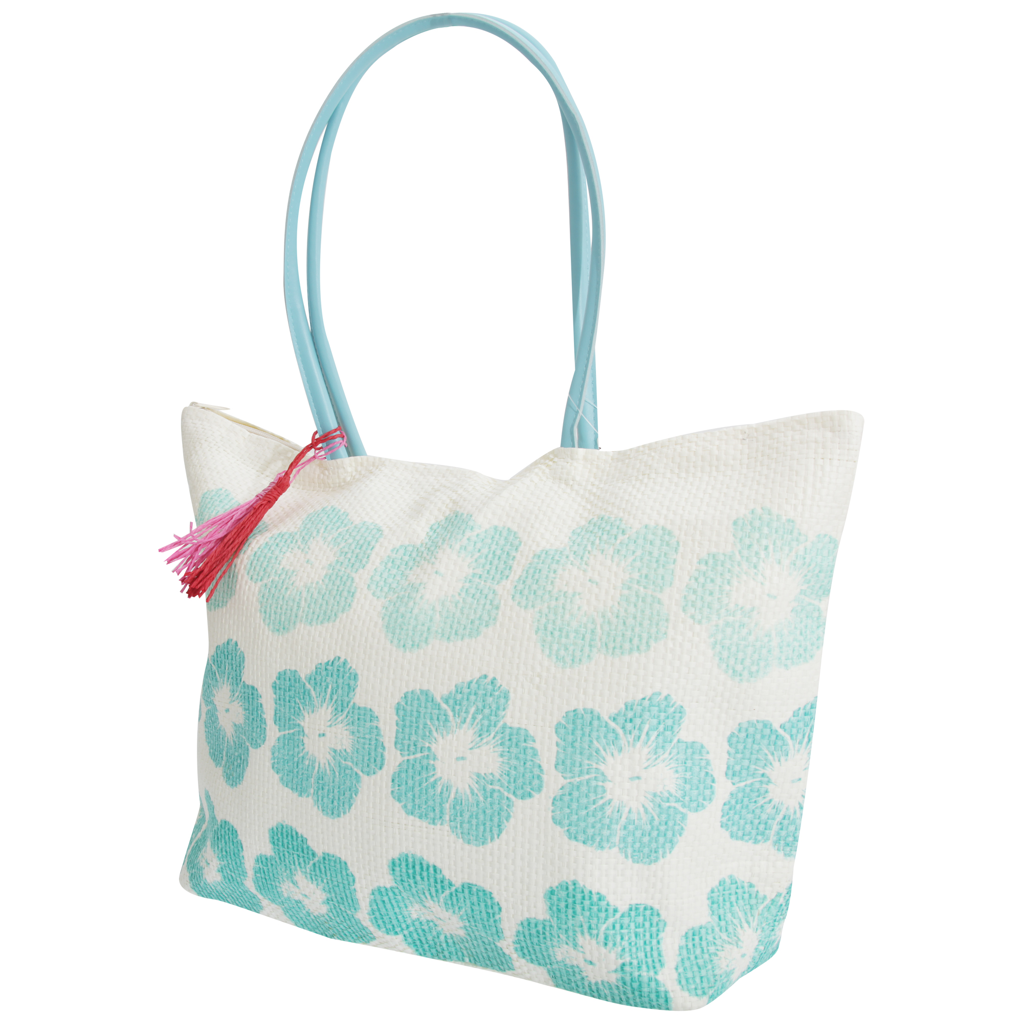 FLOSO Womens/Ladies Floral Pattern Woven Summer Handbag (One Size) (White/Turquoise)