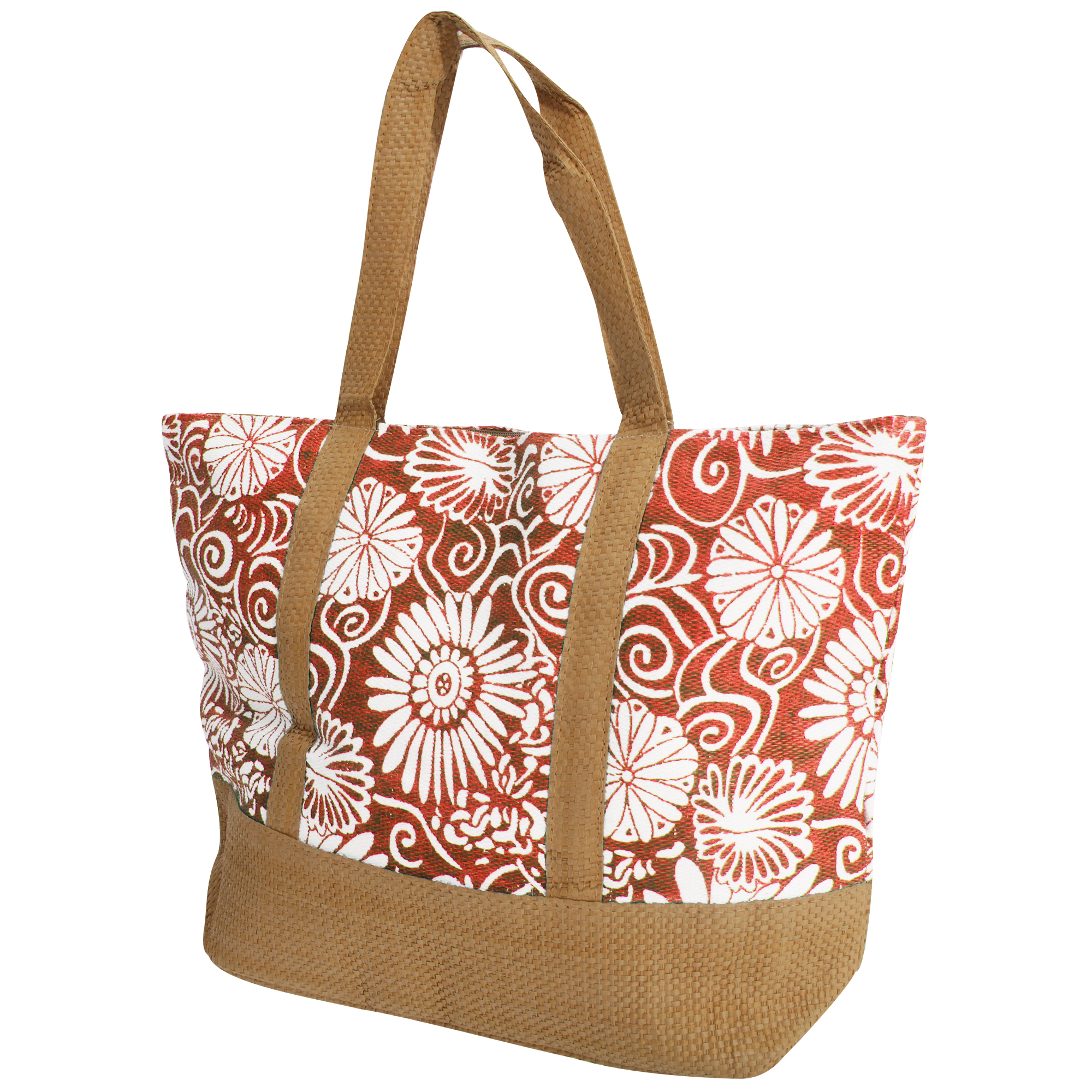 FLOSO Womens/Ladies Woven Floral Print Summer Handbag (One Size) (Coral)
