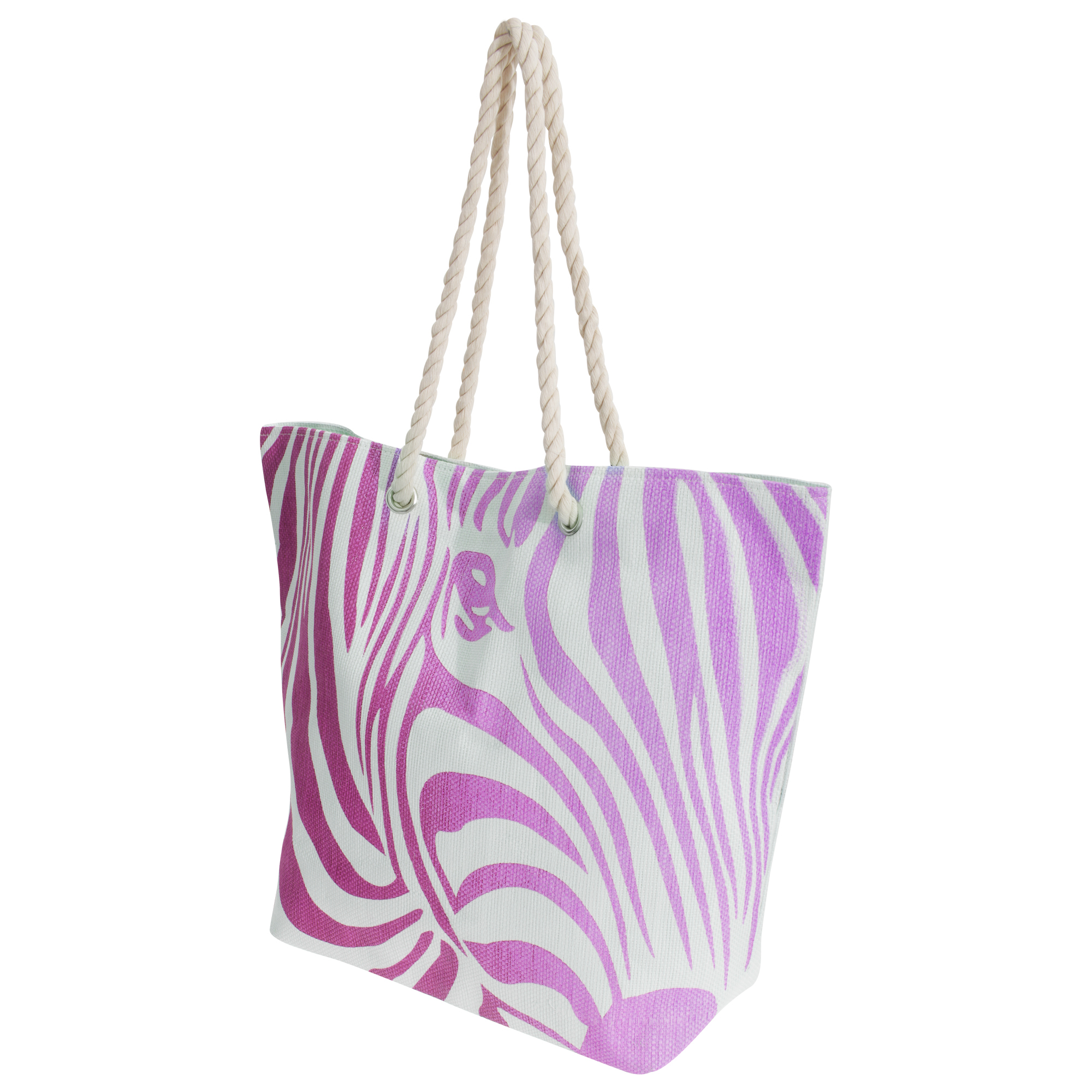 FLOSO Womens/Ladies Zebra Stripe Patterned Straw Woven Summer Handbag (One Size) (White/Pink)