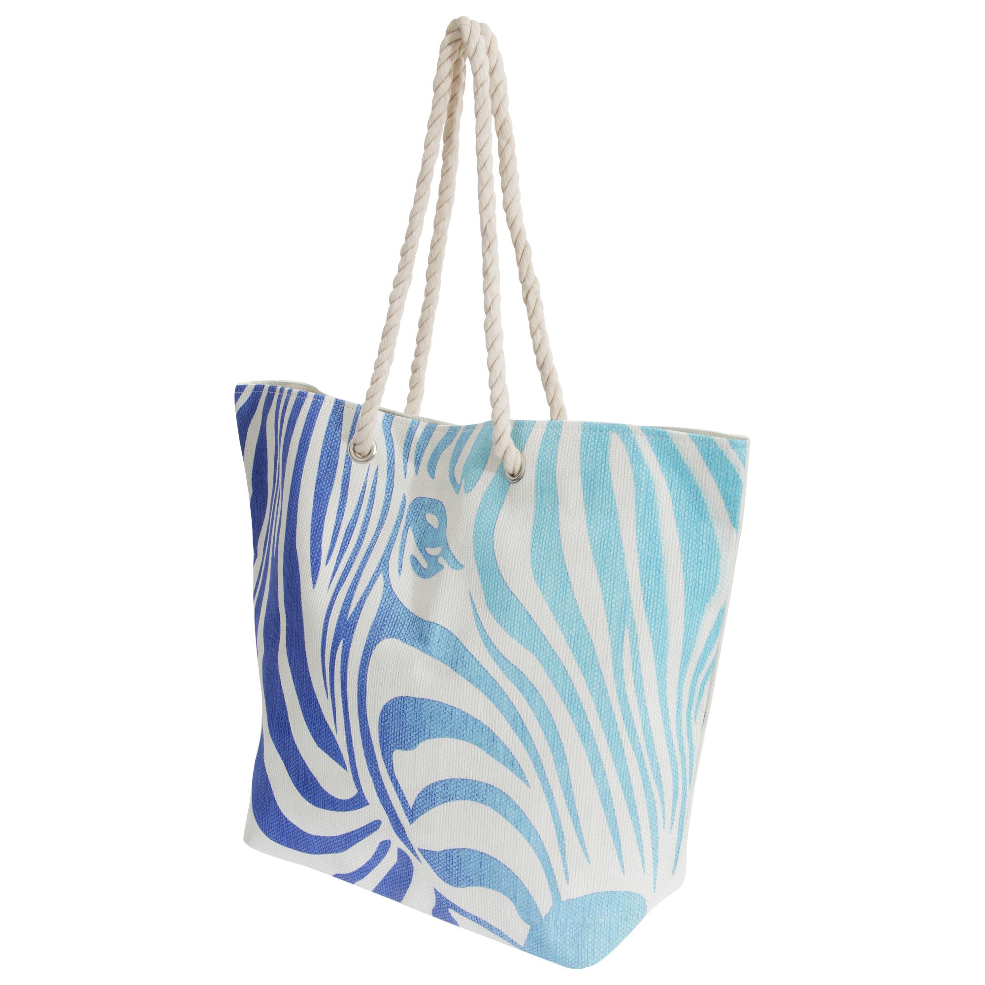 FLOSO Womens/Ladies Zebra Stripe Patterned Straw Woven Summer Handbag (One Size) (White/Blue)