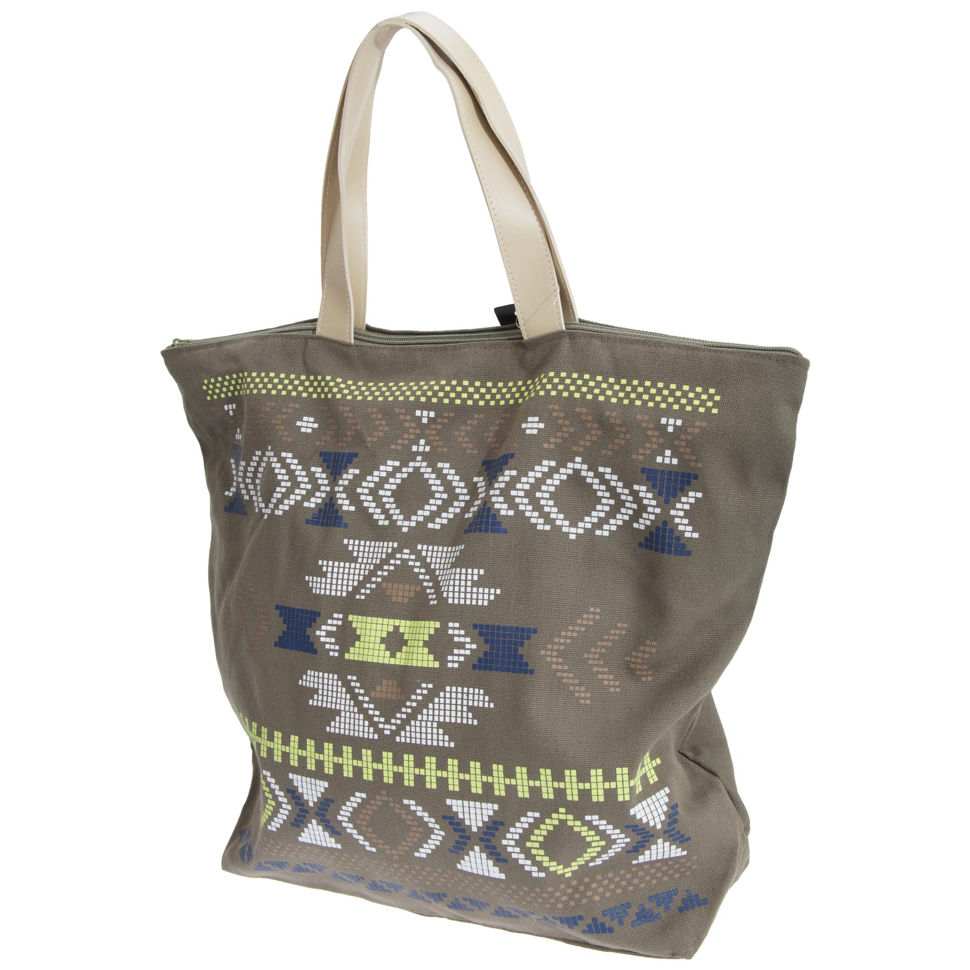 FLOSO Womens/Ladies Cotton Rich Aztec Print Top Handle Handbag (One Size) (Brown)