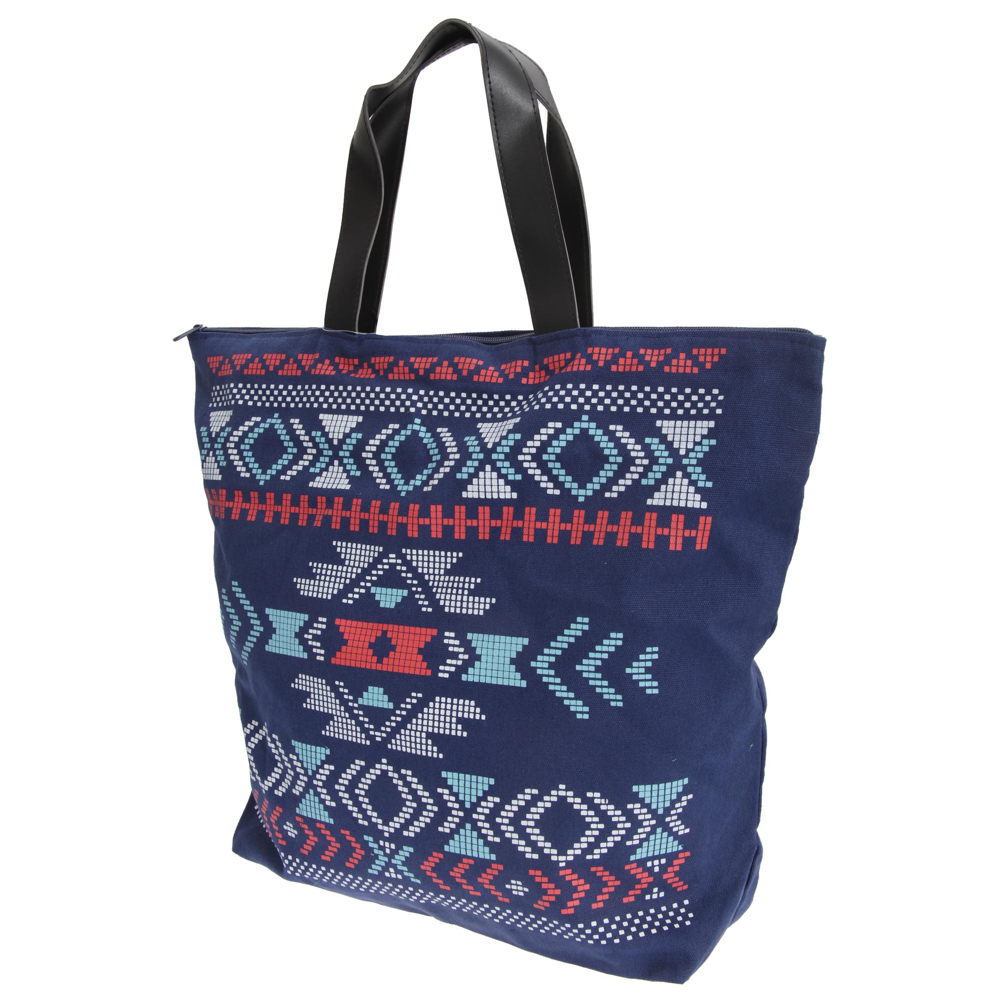 FLOSO Womens/Ladies Cotton Rich Aztec Print Top Handle Handbag (One Size) (Navy)