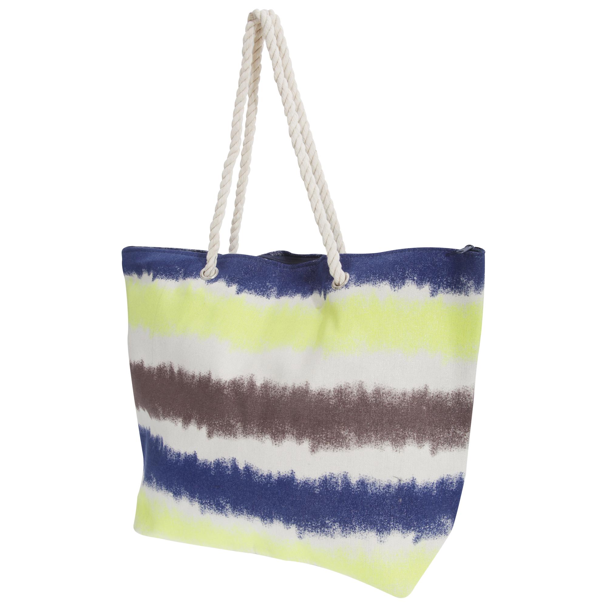 FLOSO Womens/Ladies Faded Stripe Design Canvas Summer Handbag (One Size) (Yellow/Navy/Brown/Blue)
