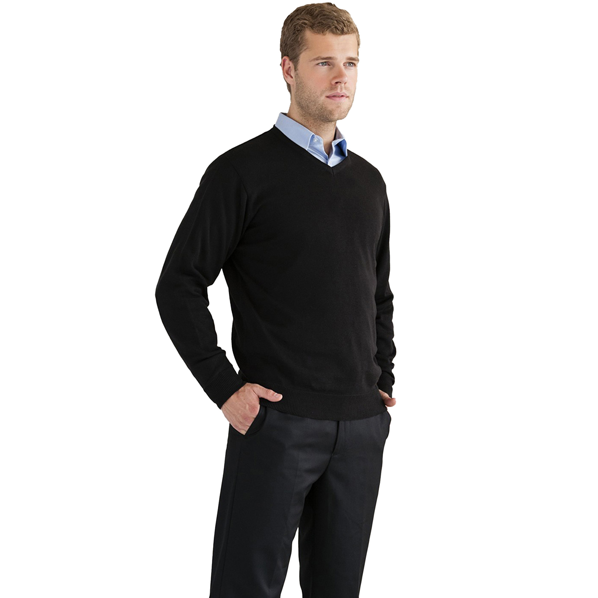 miniature 15 - Russell Collection - Pullover à col en V - Homme (XS-4XL) 2 couleurs (BC1012)