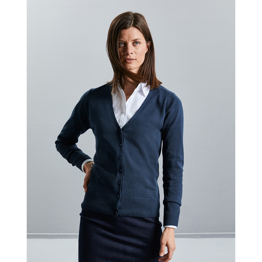 Russell Collection Ladies/Womens V-neck Knitted Cardigan (3XL) (Charcoal Marl)