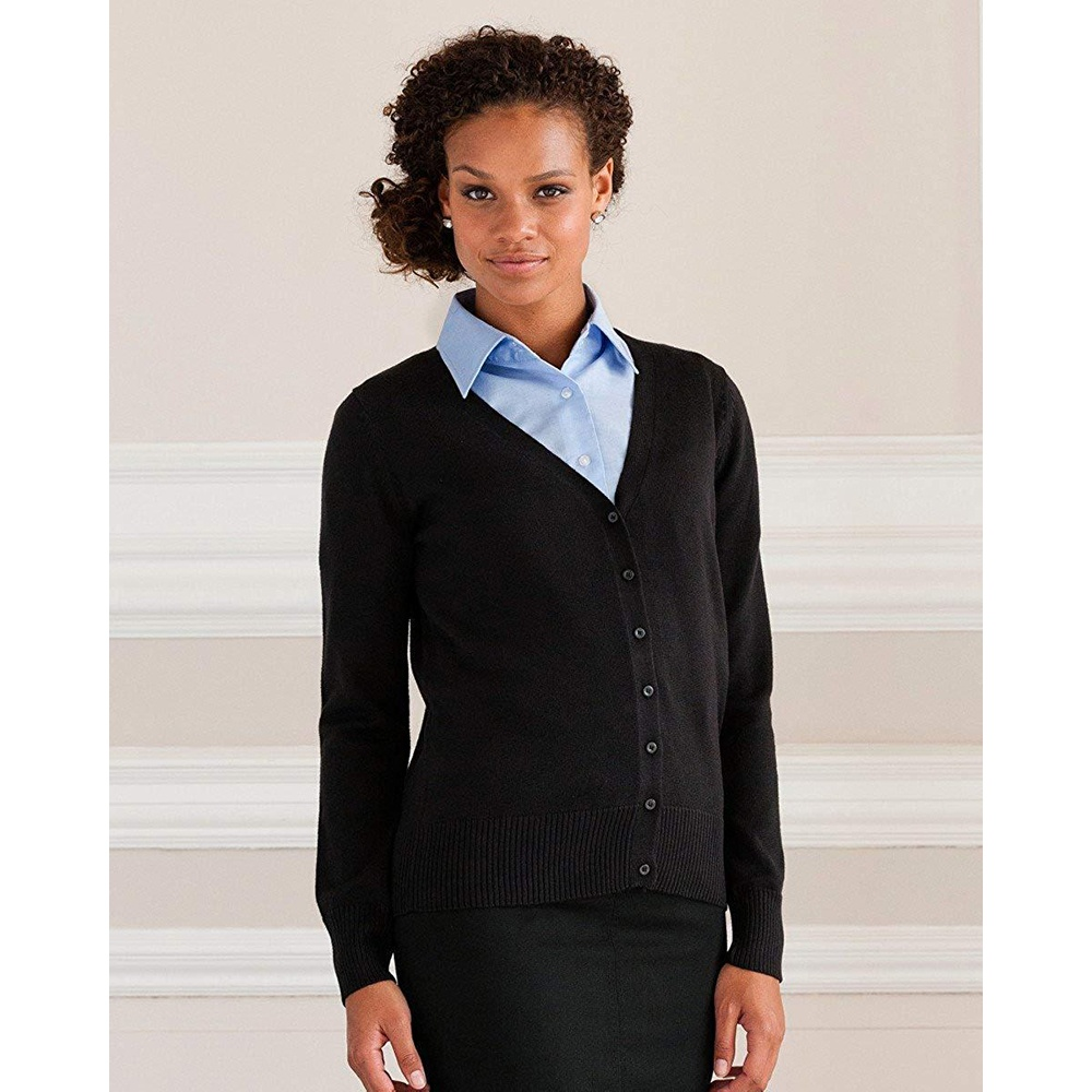 Russell Collection Ladies/Womens V-neck Knitted Cardigan (3XL) (Black)