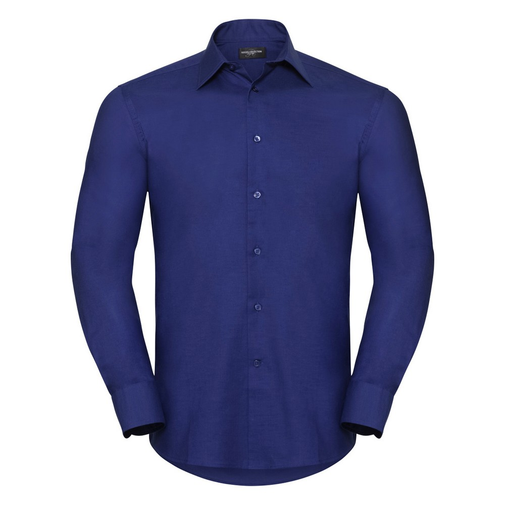 Russell Collection Mens Long Sleeve Easy Care Tailored Oxford Shirt (19.5inch) (Bright Royal)