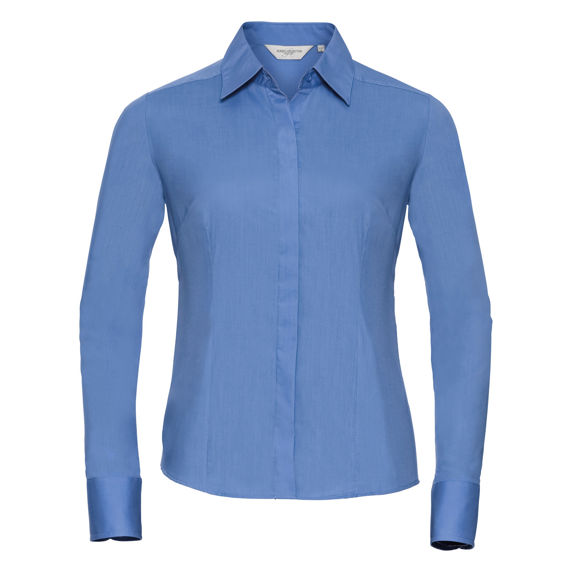 Russell Collection Ladies/Womens Long Sleeve Poly-Cotton Easy Care Fitted Poplin Shirt (S) (Corporate Blue)