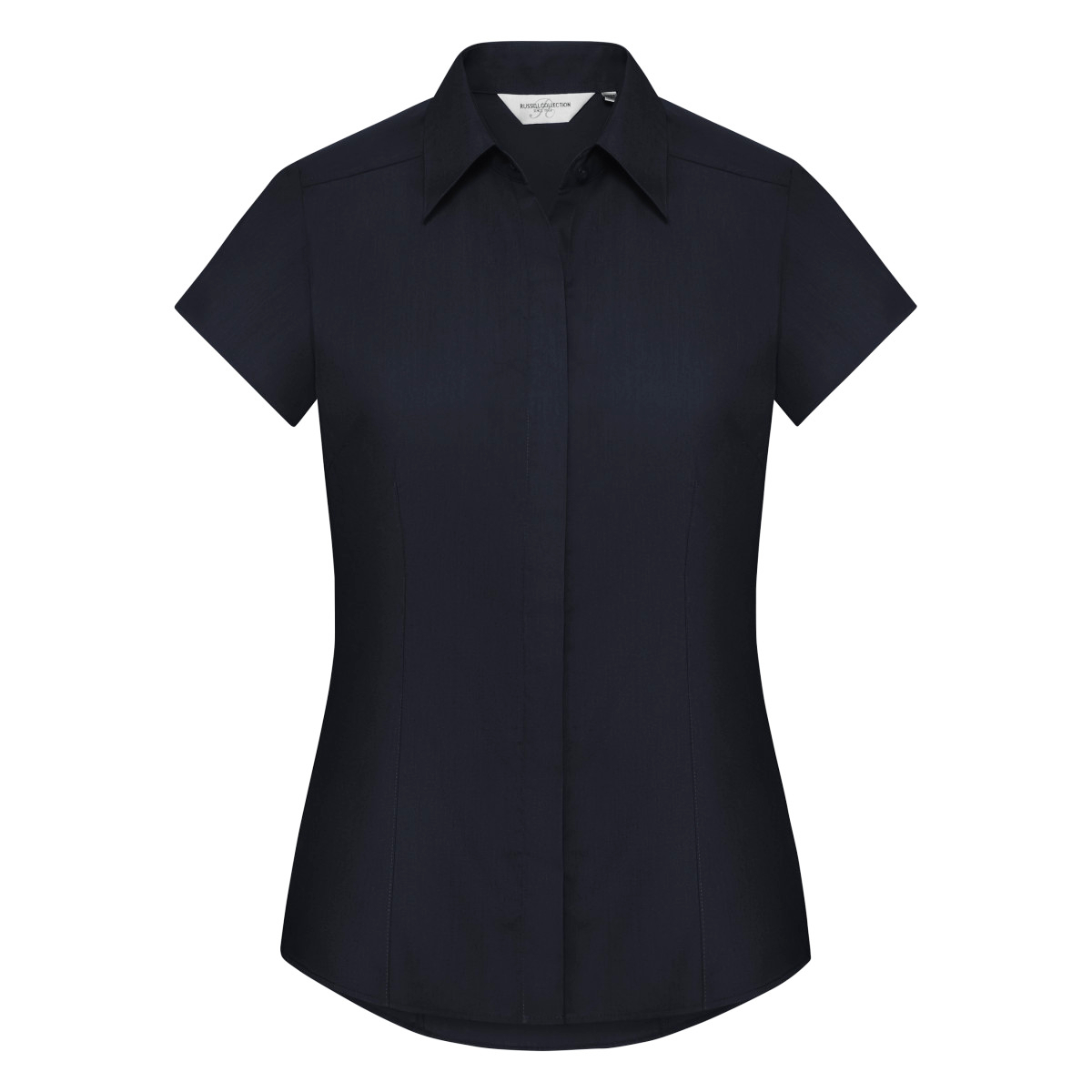 Russell Collection Ladies Cap Sleeve Polycotton Easy Care Fitted Poplin Shirt (3XL) (French Navy)