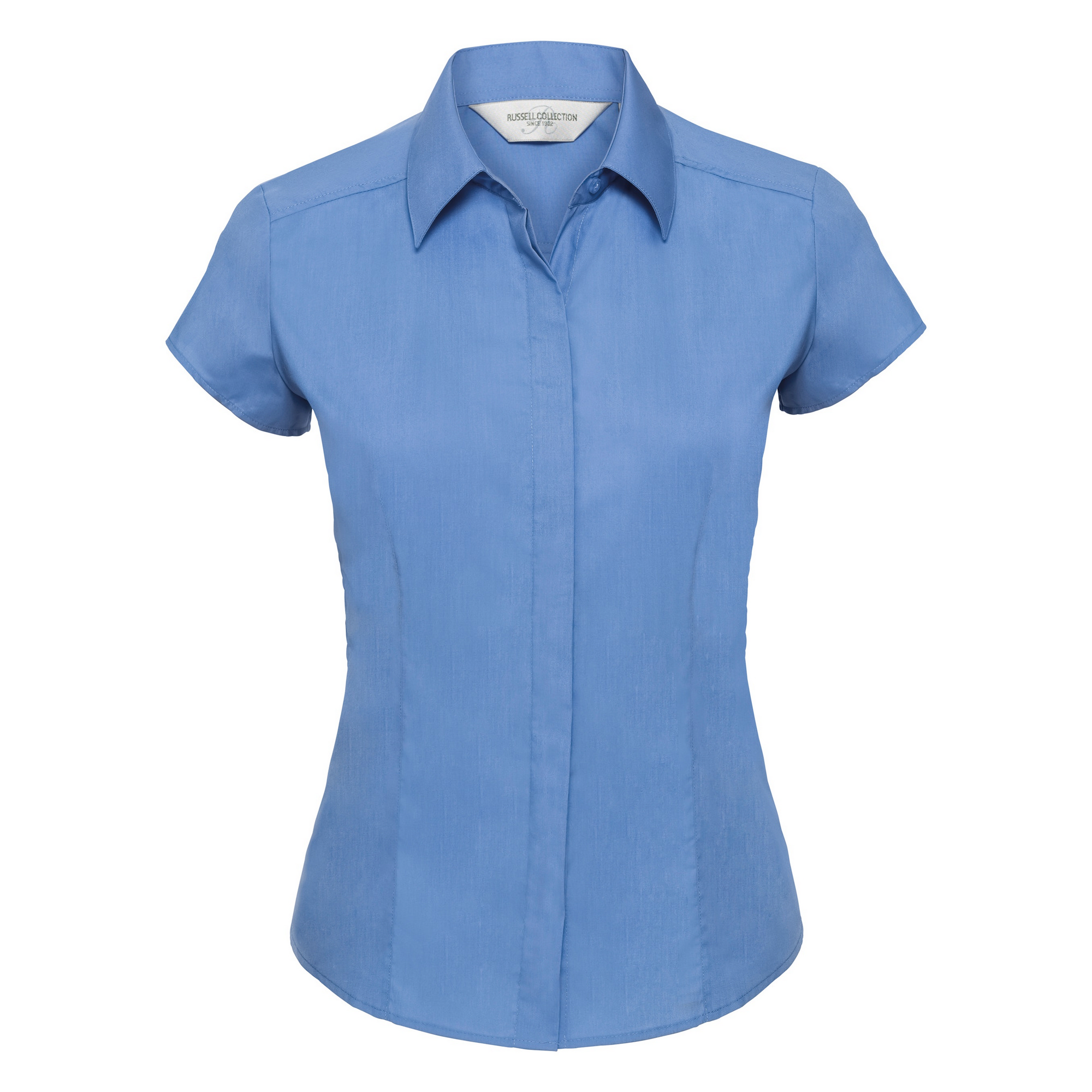Russell Collection Ladies Cap Sleeve Polycotton Easy Care Fitted Poplin Shirt (S) (Corporate Blue)