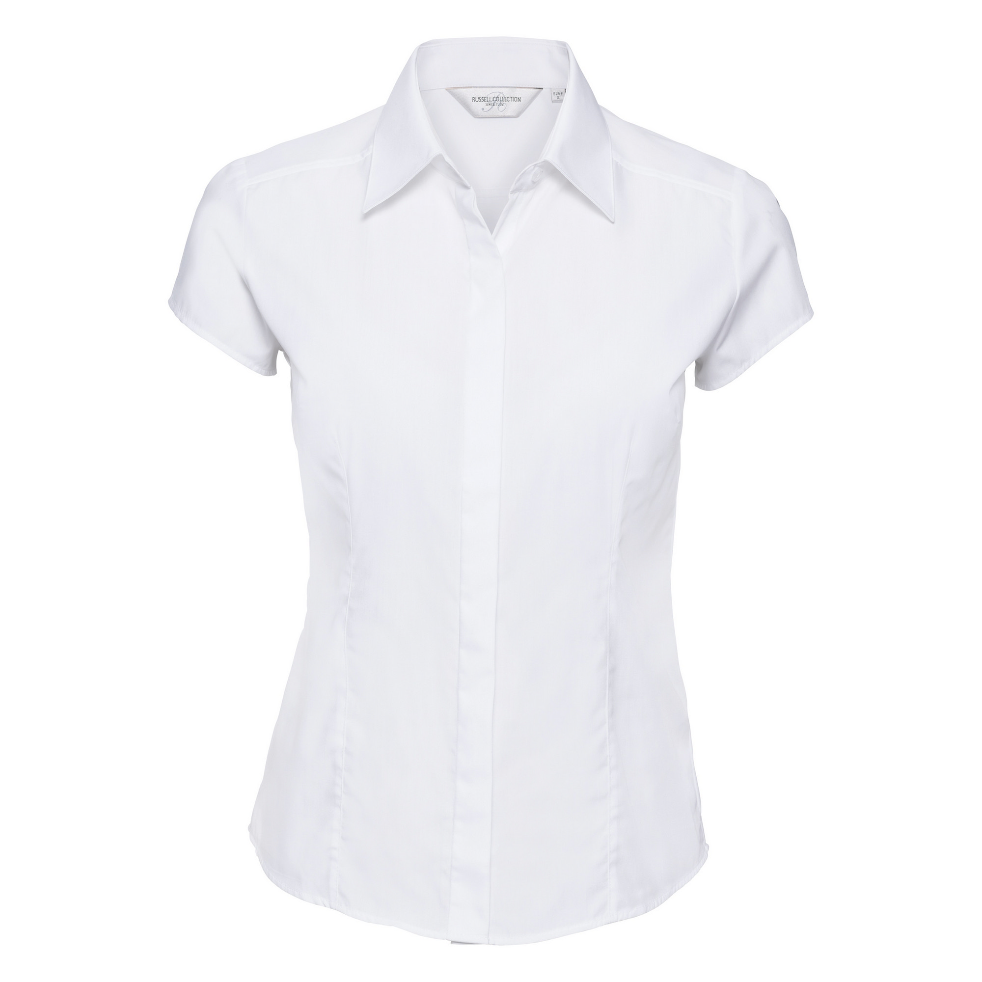 Russell Collection Ladies Cap Sleeve Polycotton Easy Care Fitted Poplin Shirt (4XL) (White)