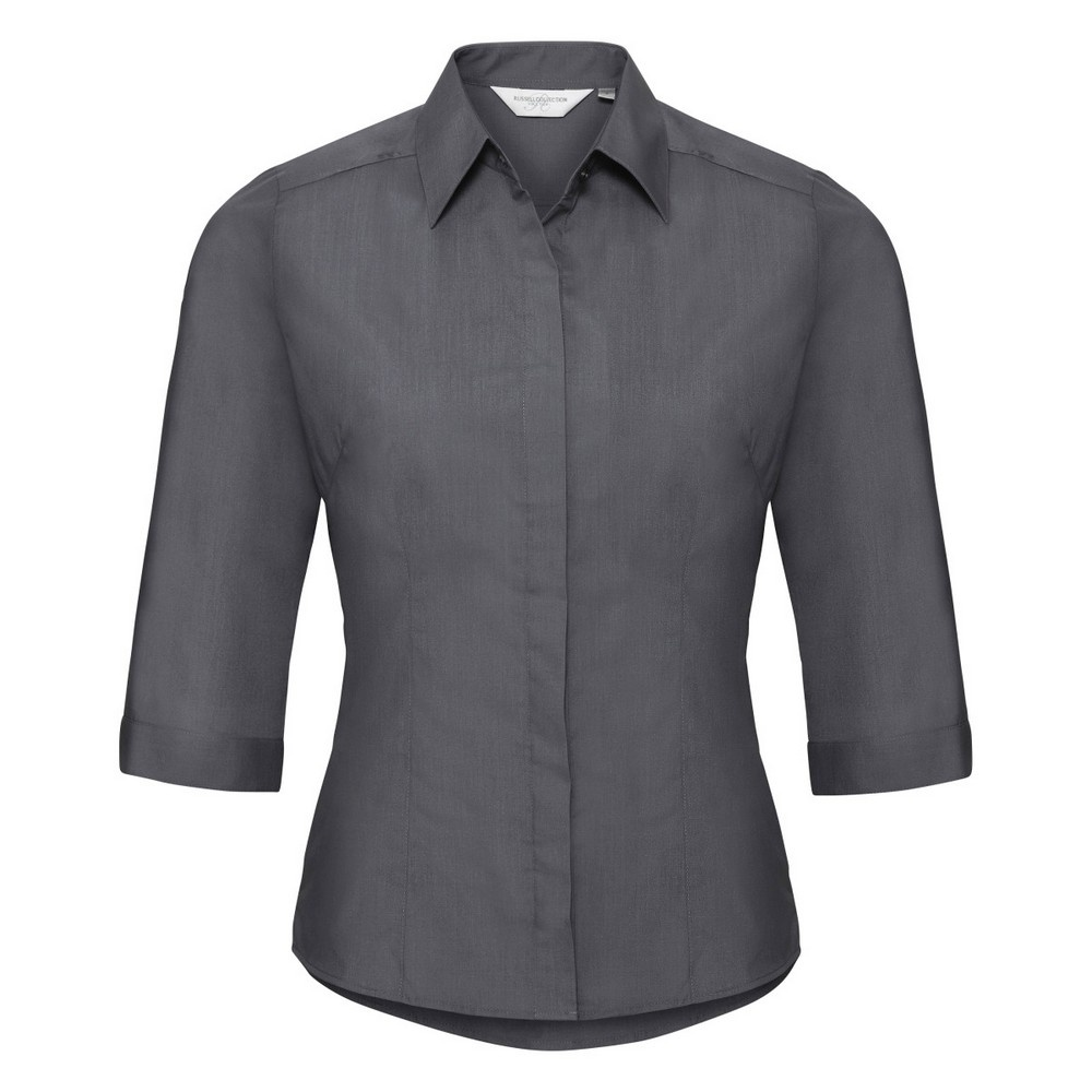 Russell Collection Ladies 3/4 Sleeve Poly-Cotton Easy Care Fitted Poplin Shirt (3XL) (Convoy Grey)