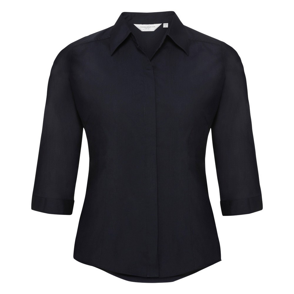 Russell Collection Ladies 3/4 Sleeve Poly-Cotton Easy Care Fitted Poplin Shirt (XL) (French Navy)