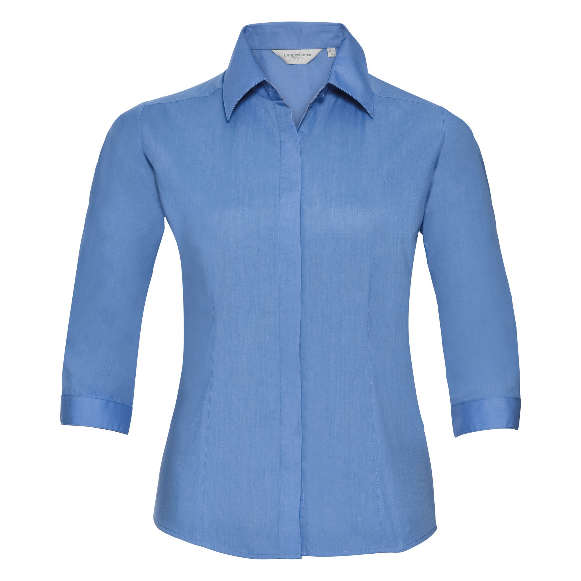 Russell Collection Ladies 3/4 Sleeve Poly-Cotton Easy Care Fitted Poplin Shirt (S) (Corporate Blue)