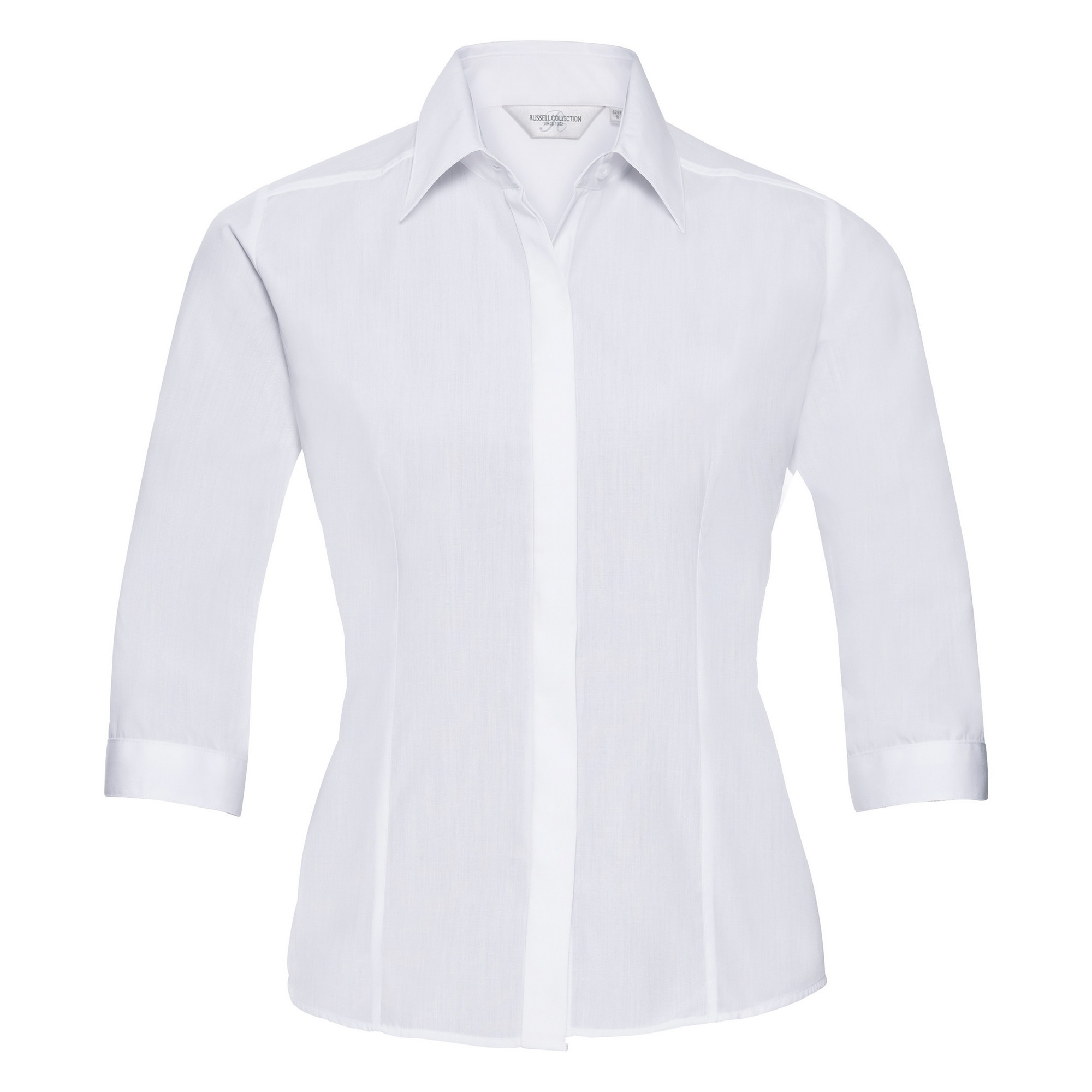 Russell Collection Ladies 3/4 Sleeve Poly-Cotton Easy Care Fitted Poplin Shirt (L) (White)