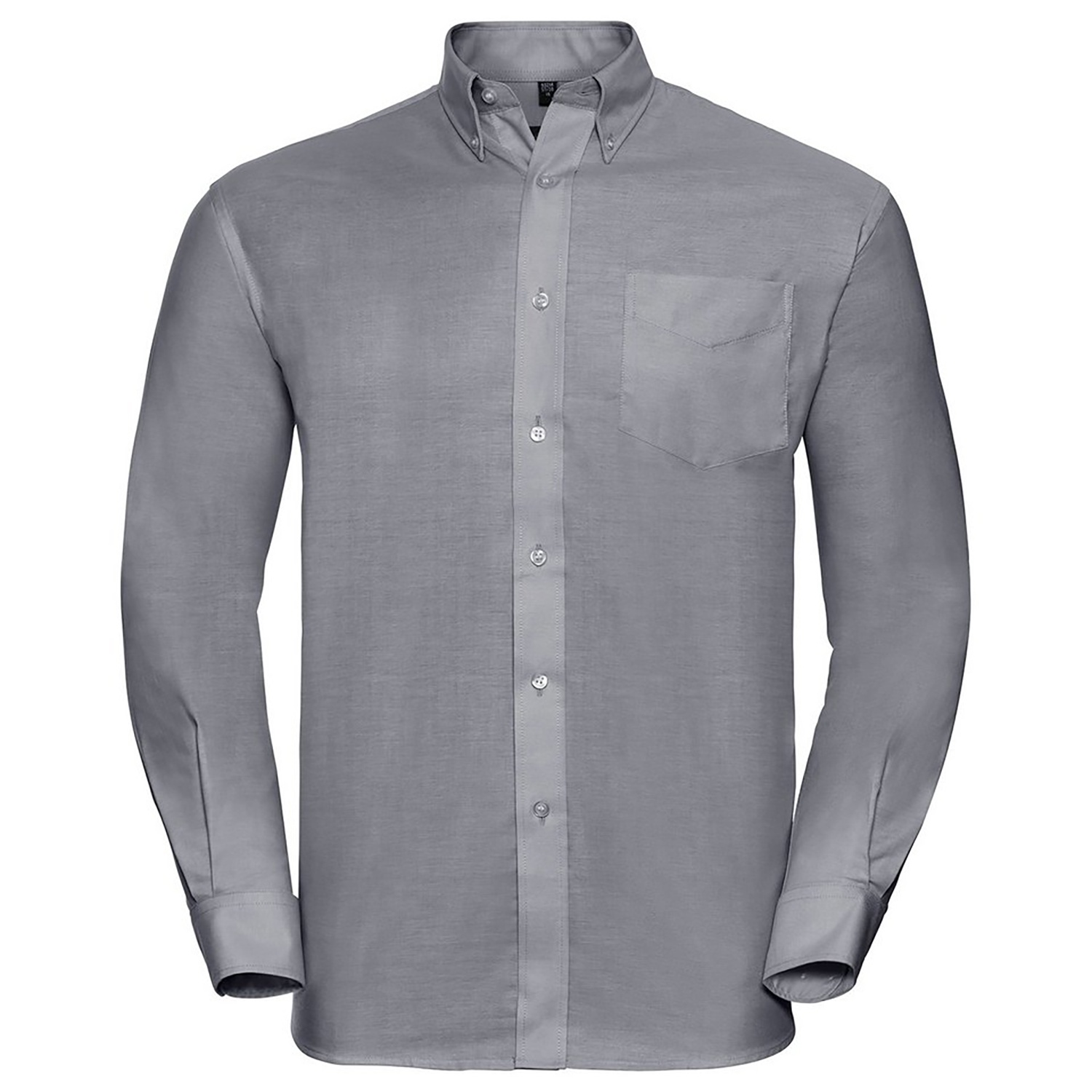 Russell Collection Mens Long Sleeve Easy Care Oxford Shirt (19inch) (Silver Grey)