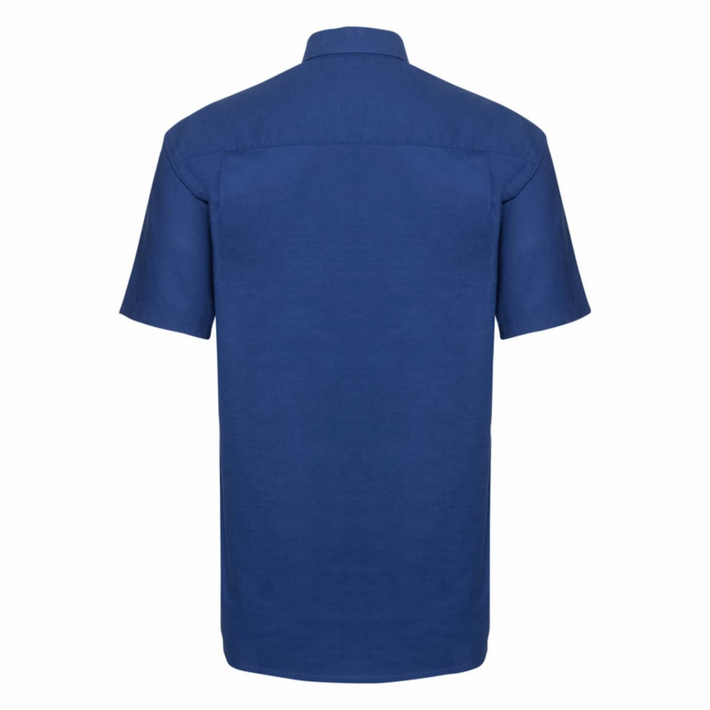 Russell Collection Mens Short Sleeve Easy Care Oxford Shirt (19.5inch) (Oxford Blue)