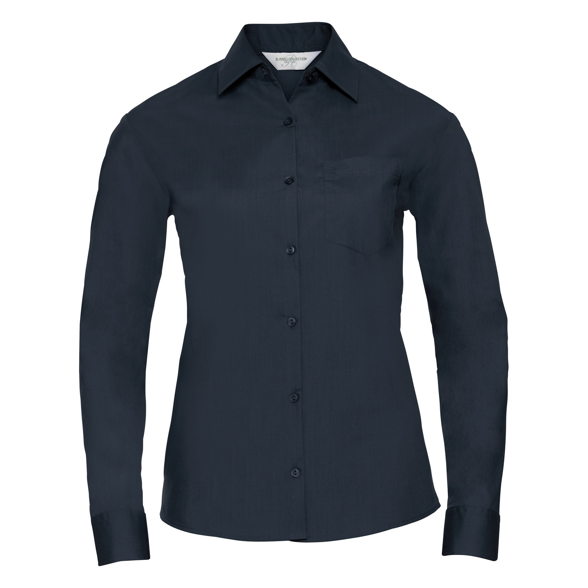 Russell Collection Ladies/Womens Long Sleeve Shirt (XS) (French Navy)