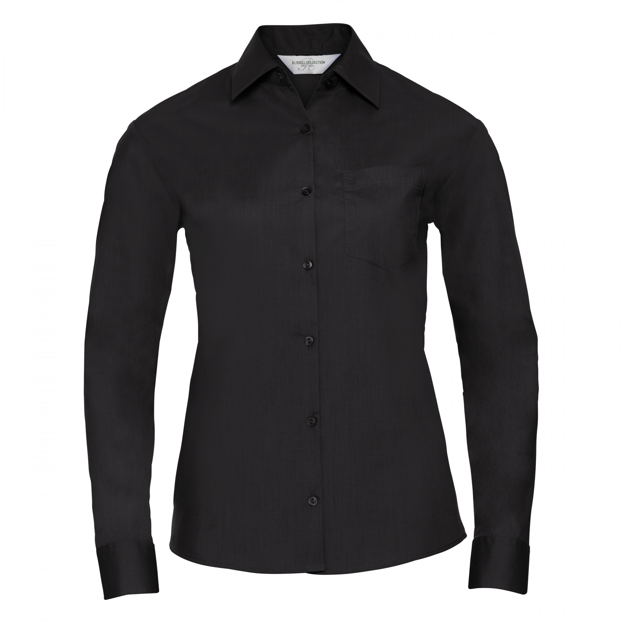 Russell Collection Ladies/Womens Long Sleeve Shirt (M) (Black)
