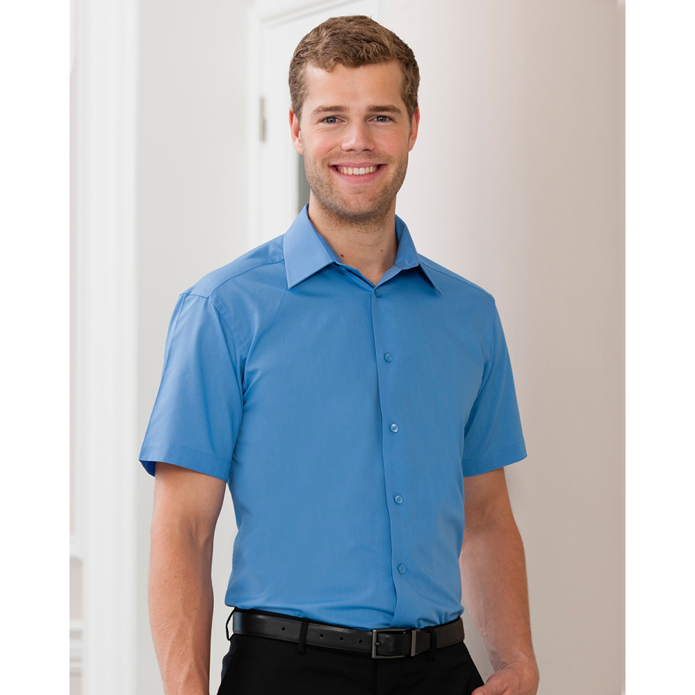 Russell Collection Mens Short Sleeve Poly-Cotton Poplin Shirt 7 Sizes BC1029