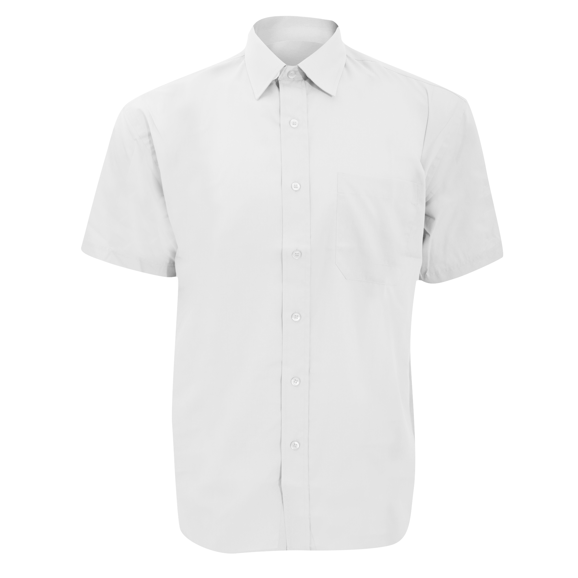 Russell Collection Mens Short Sleeve Poly-Cotton Easy Care Poplin Shirt (17) (White)