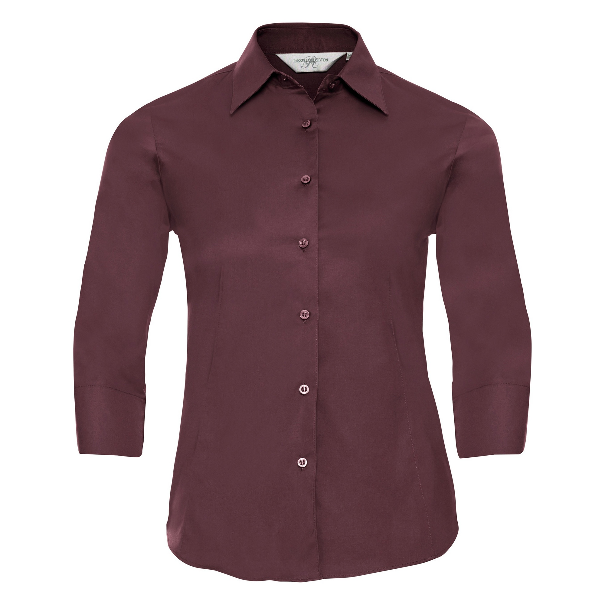 Russell Collection Ladies/Womens 3/4 Sleeve Easy Care Fitted Shirt (2XL) (Port)