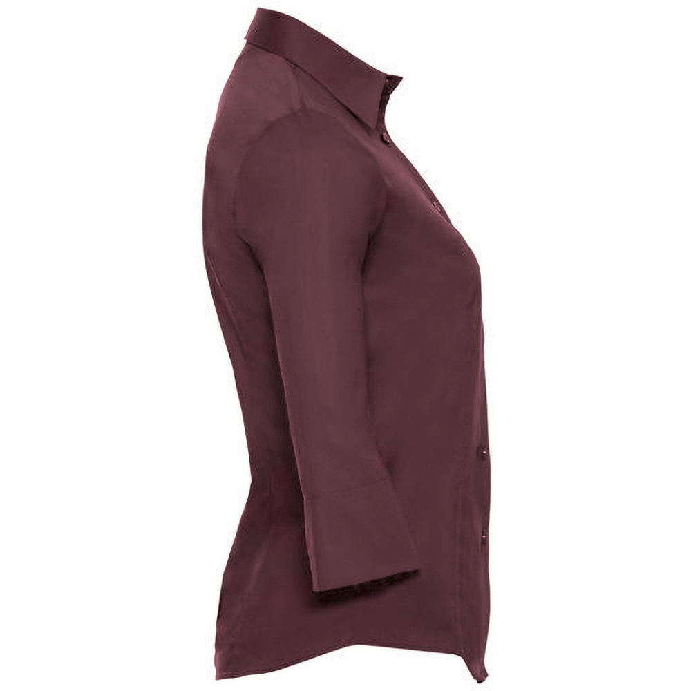 Russell Collection Ladies/Womens 3/4 Sleeve Easy Care Fitted Shirt (L) (Chocolate)