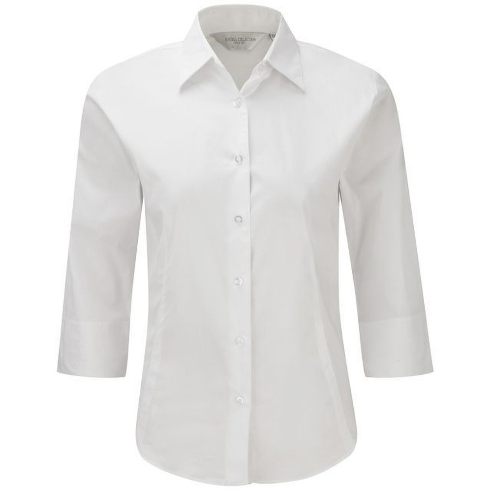 Russell Collection Ladies/Womens 3/4 Sleeve Easy Care Fitted Shirt (L) (White)