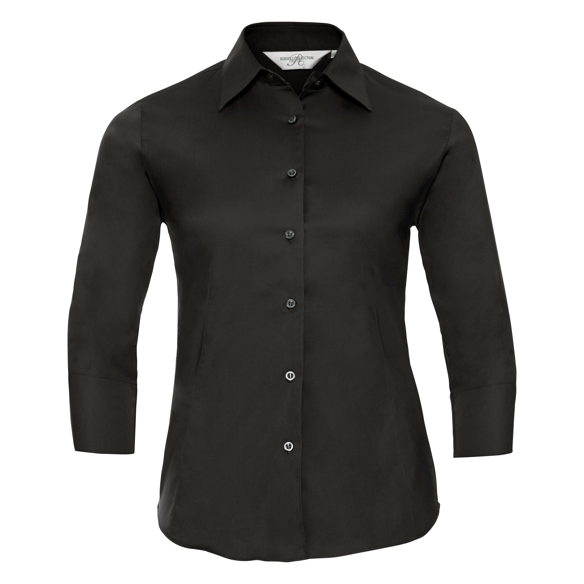 Russell Collection Ladies/Womens 3/4 Sleeve Easy Care Fitted Shirt (S) (Black)