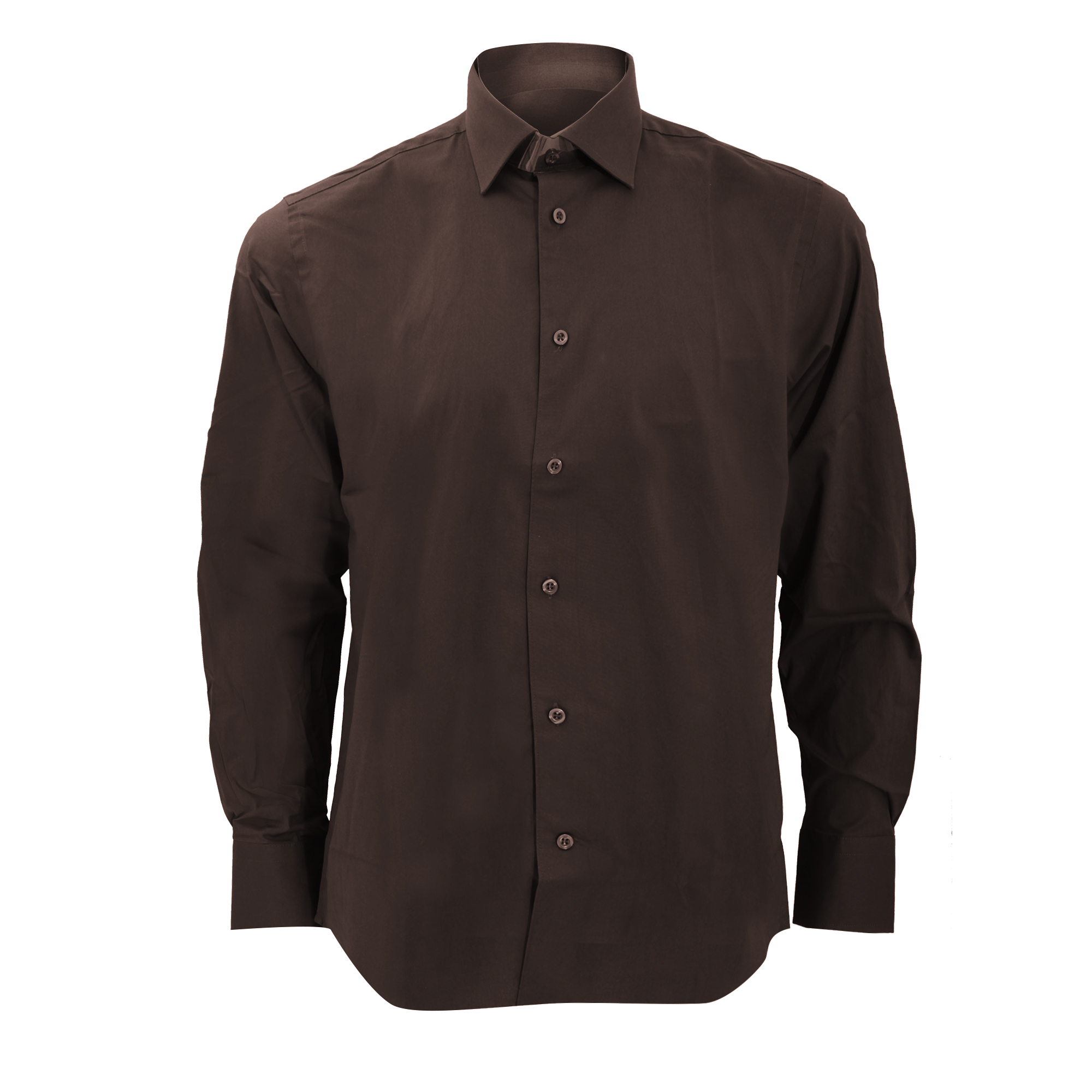 Russell Collection Mens Long Sleeve Easy Care Fitted Shirt (18) (Chocolate)
