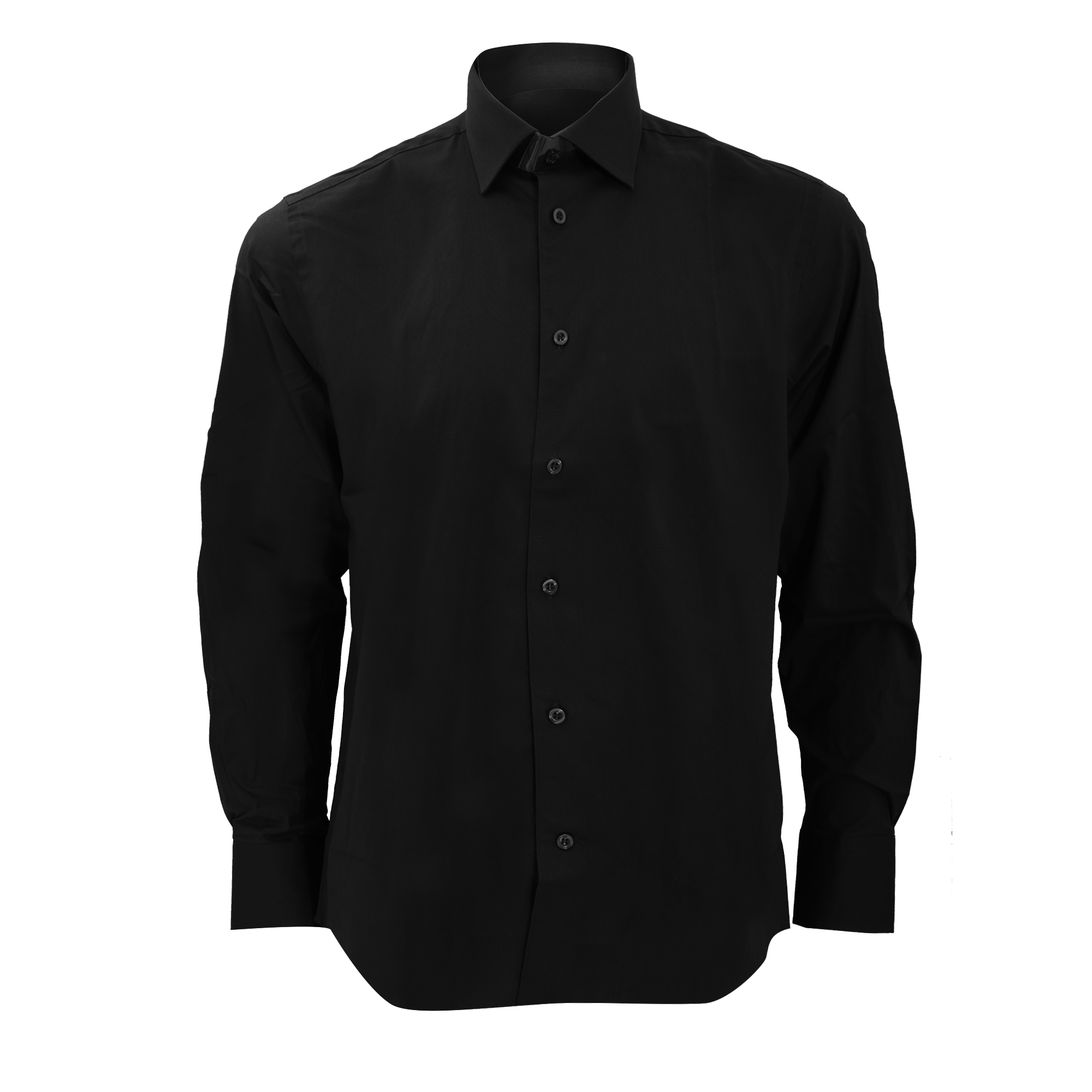 Russell Collection Mens Long Sleeve Easy Care Fitted Shirt (17) (Black)