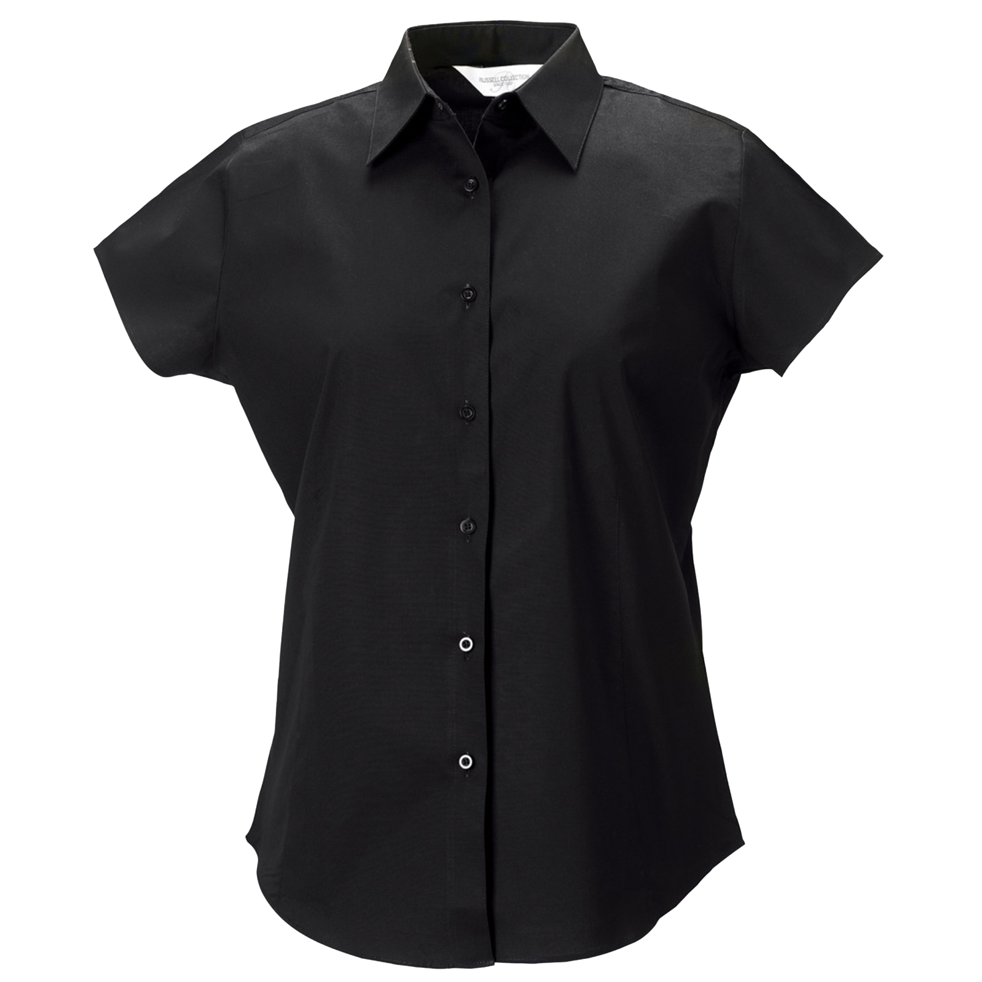 Russell Collection Ladies/Womens Cap Sleeve Easy Care Fitted Shirt (L) (Black)