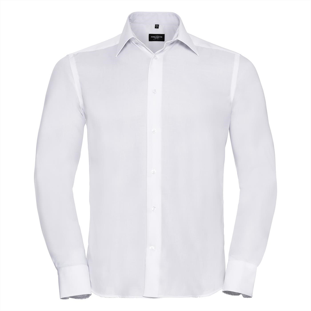 Russell Collection Mens Long Sleeve Ultimate Non-Iron Shirt (18.5inch) (White)