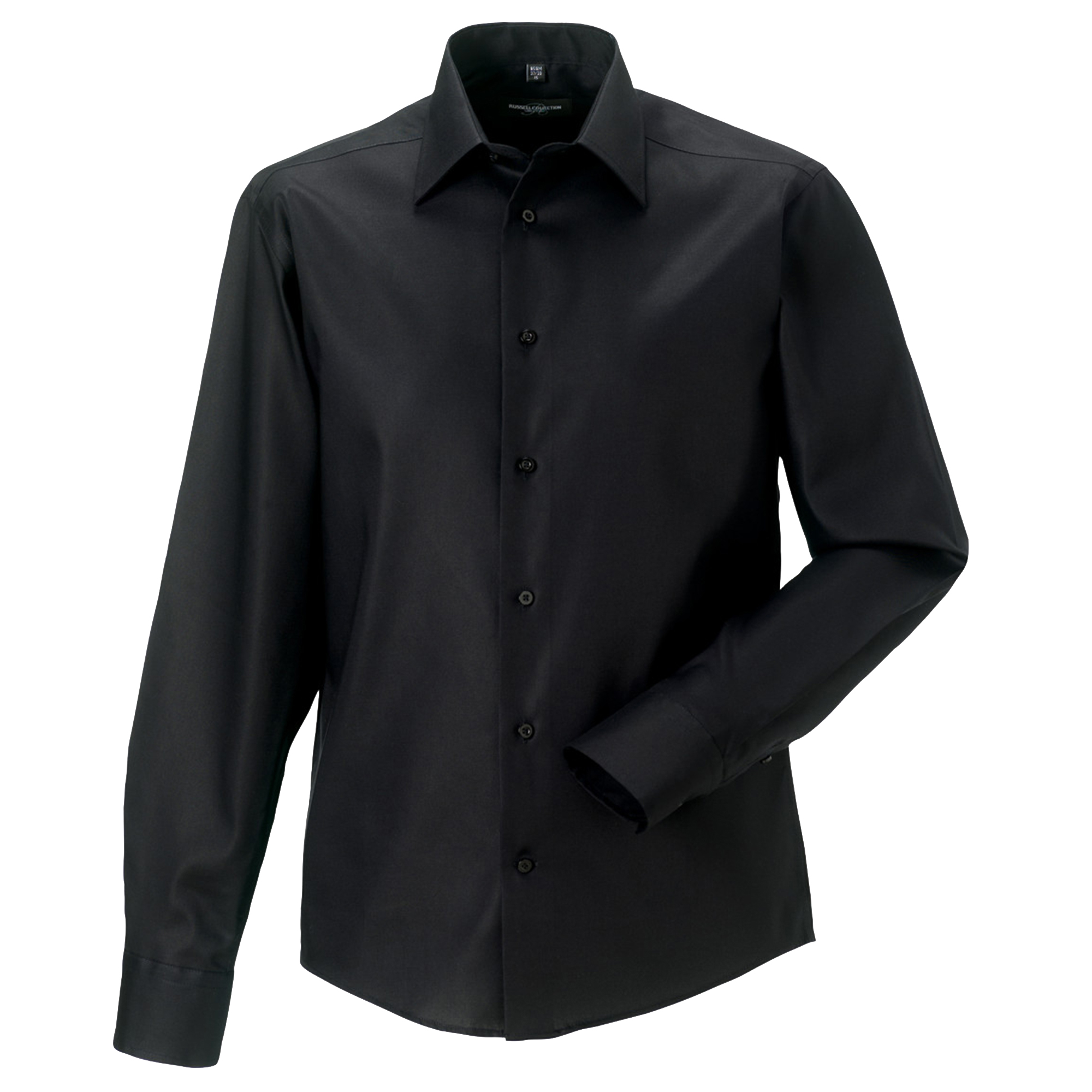 Russell Collection Mens Long Sleeve Tailored Ultimate Non-Iron Shirt (17inch) (Black)